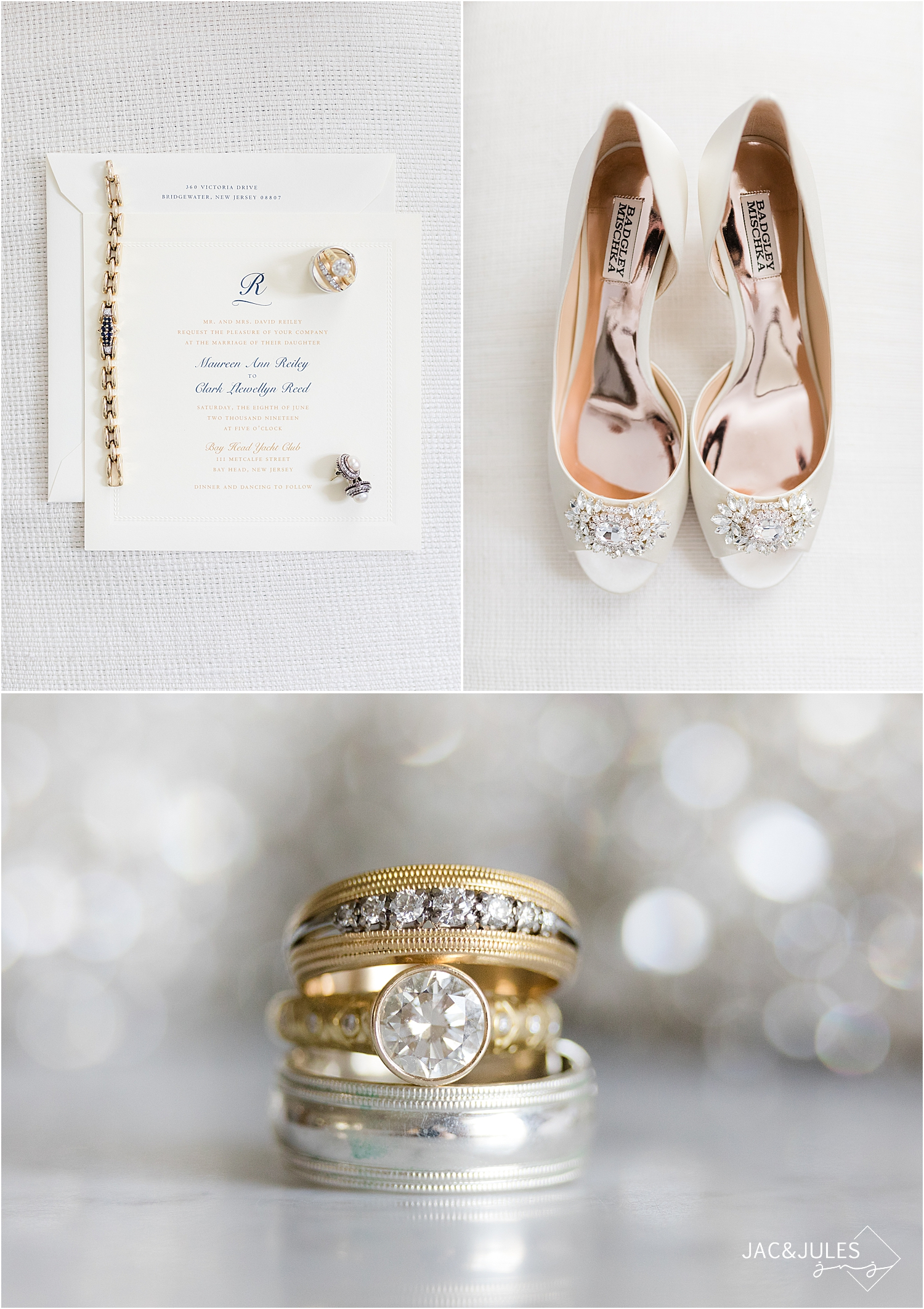 wedding invitation, brides shoes and vintage wedding rings