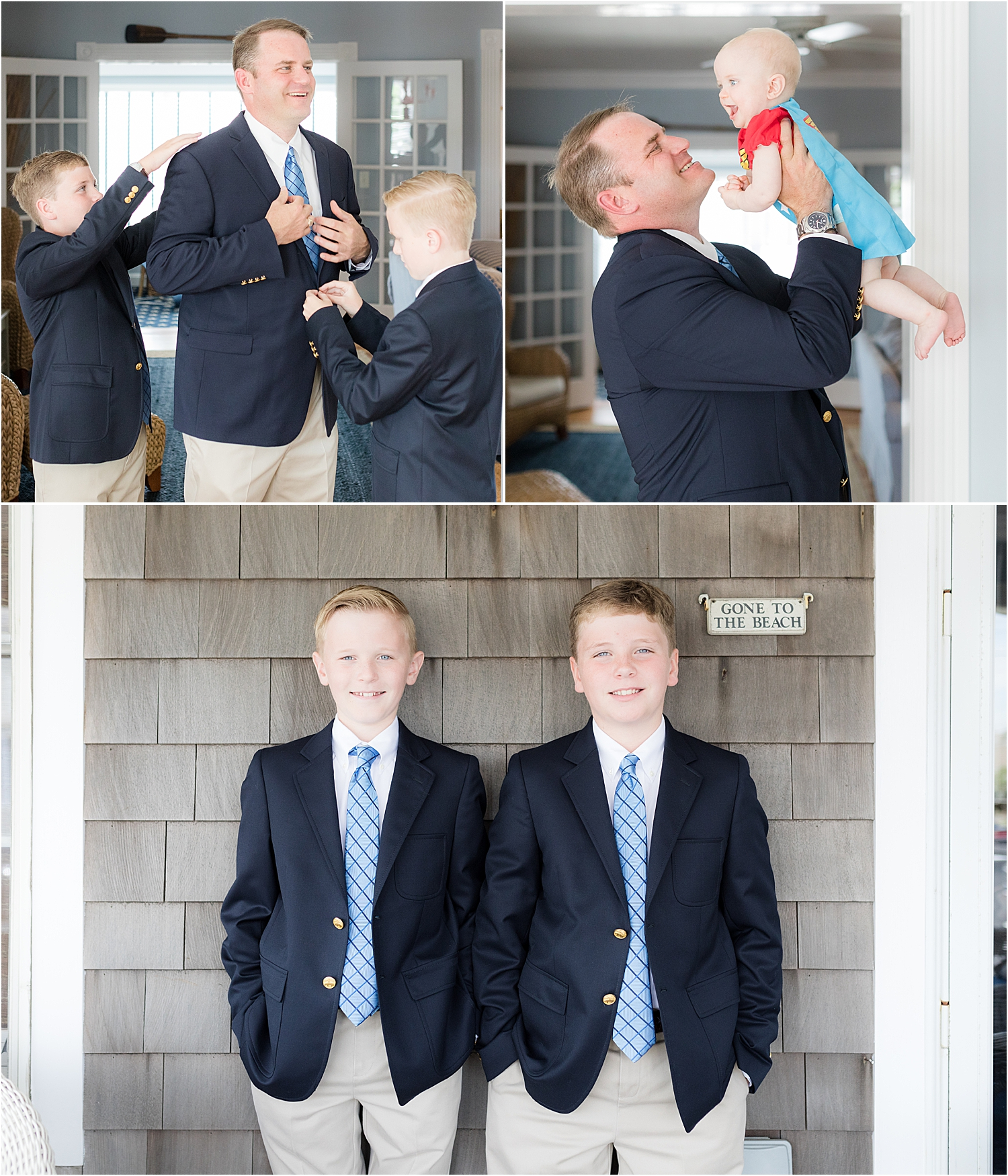 father and sons get ready for bay head nj wedding
