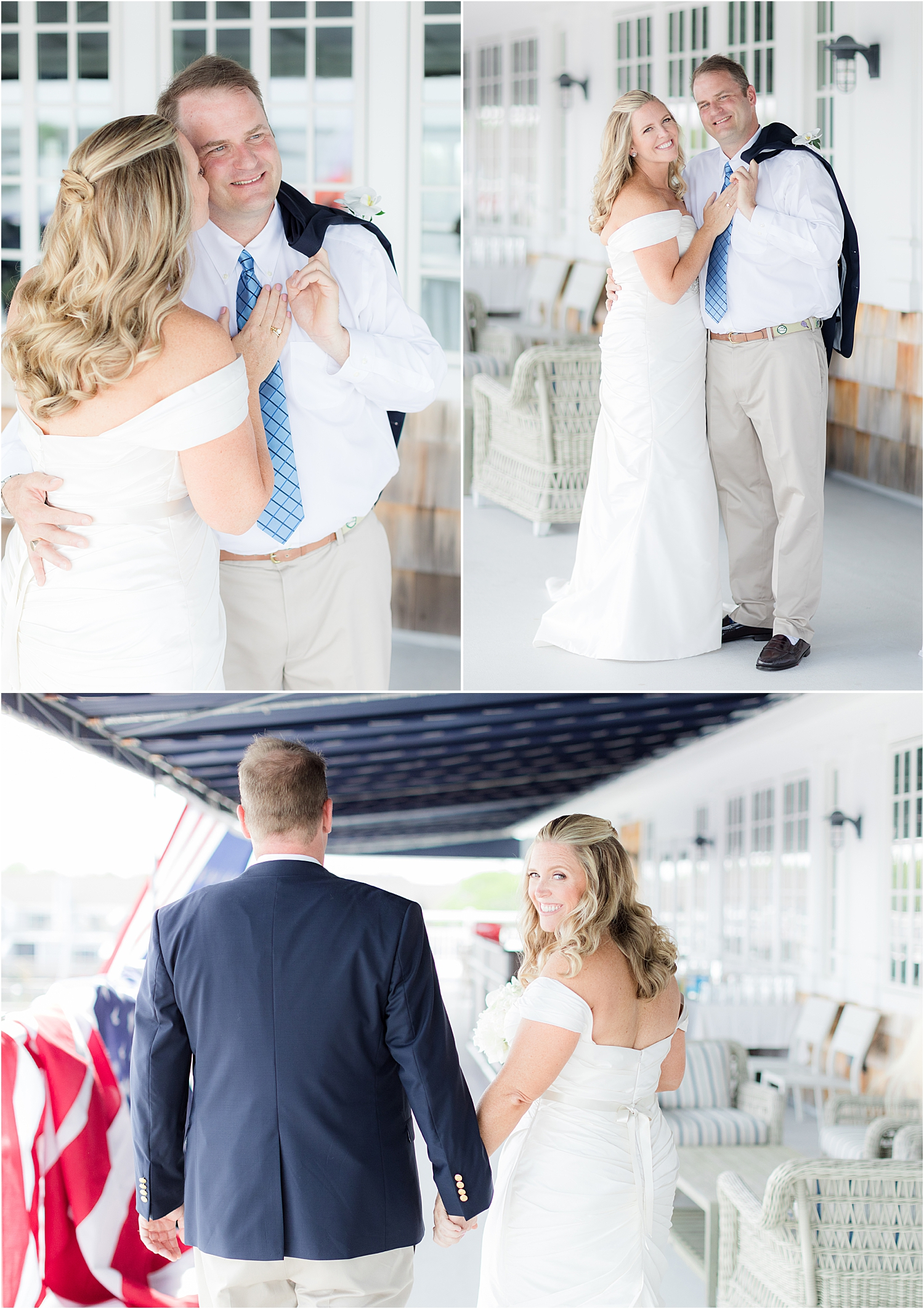 wedding photos on the upper deck at bay head yacht club
