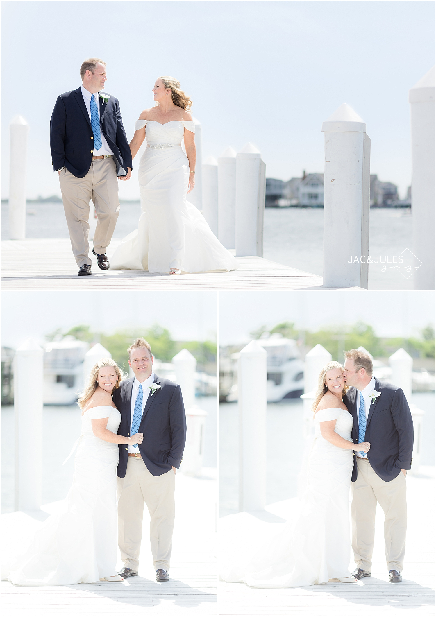 romantic wedding portraits on the dock at bay head yacht club