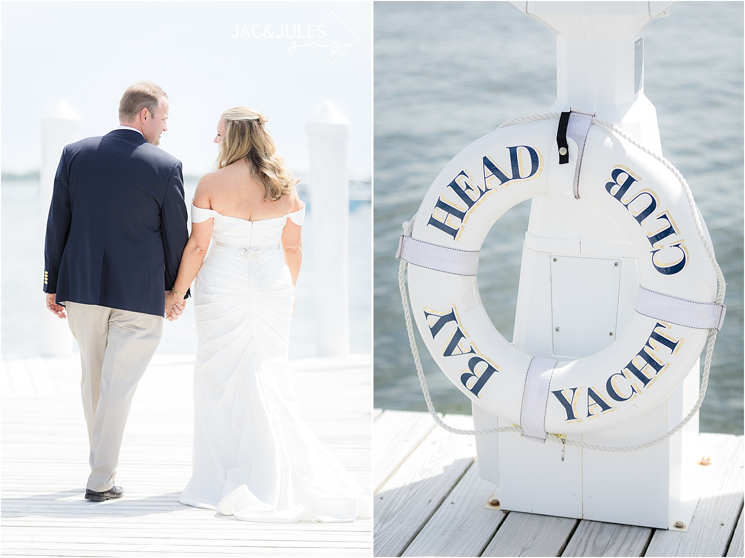 romantic wedding photos at bay head yacht club in natural light