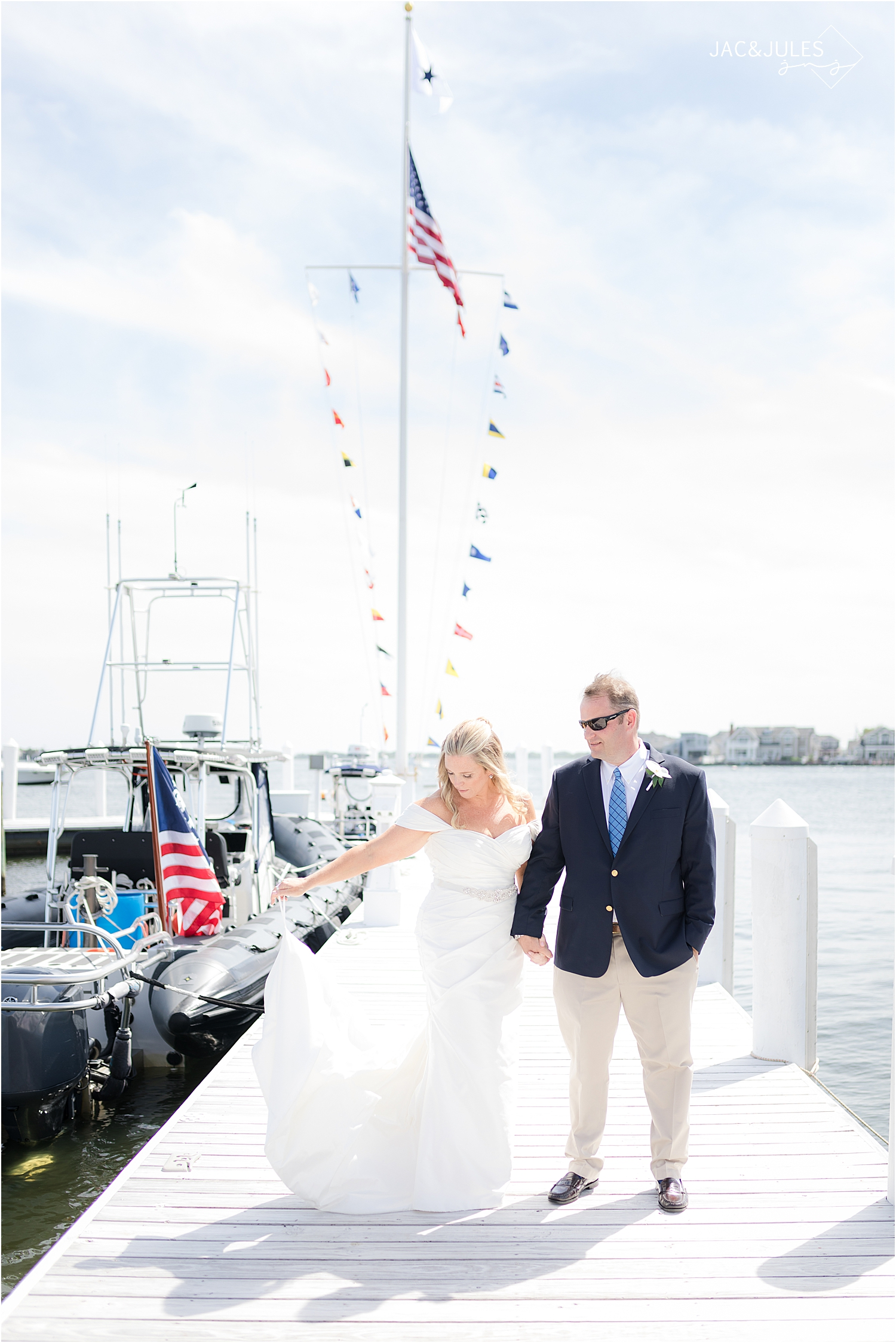 coastal wedding photos at bay head yacht club in natural light