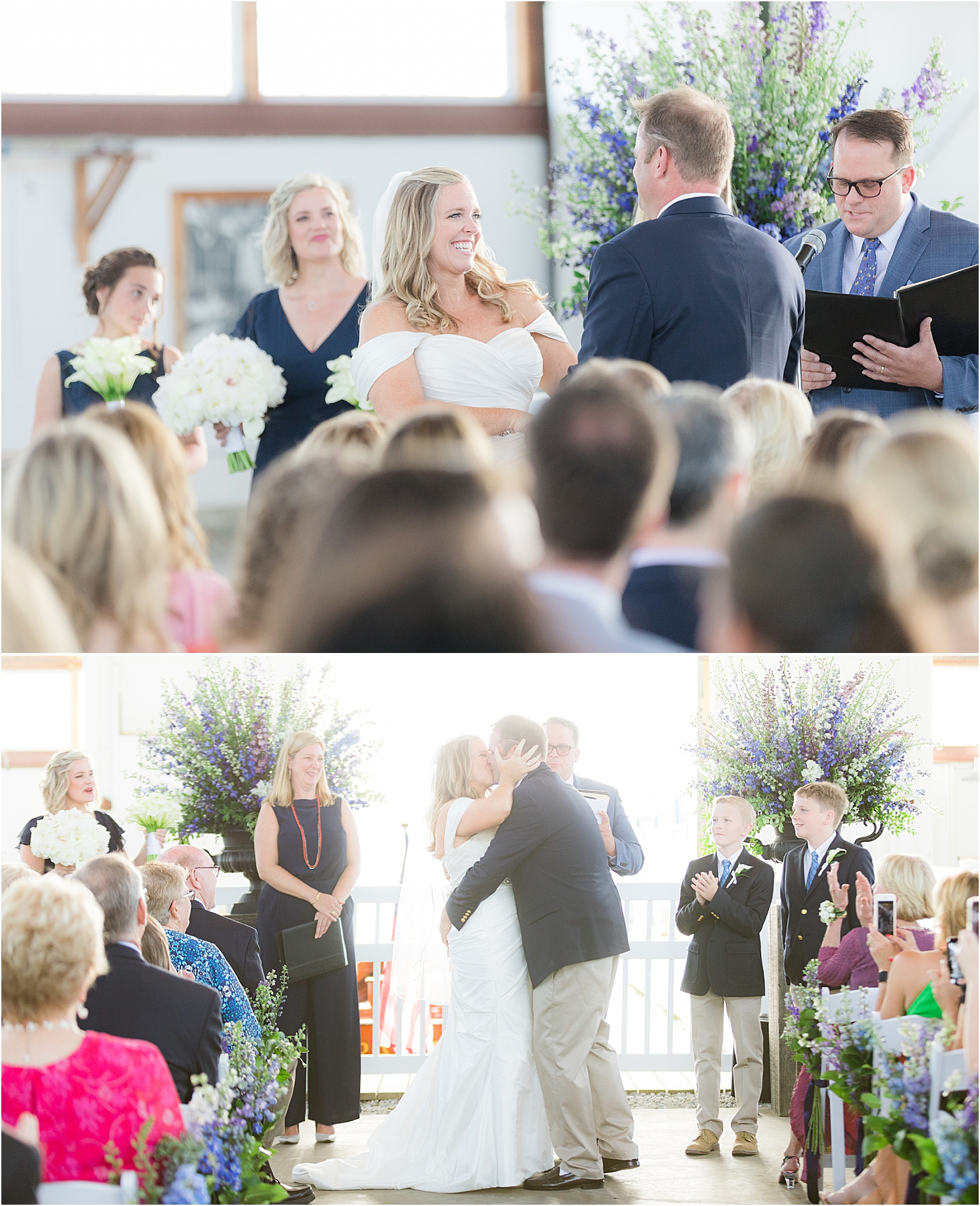 natural light wedding ceremony photo at bay head yacht club