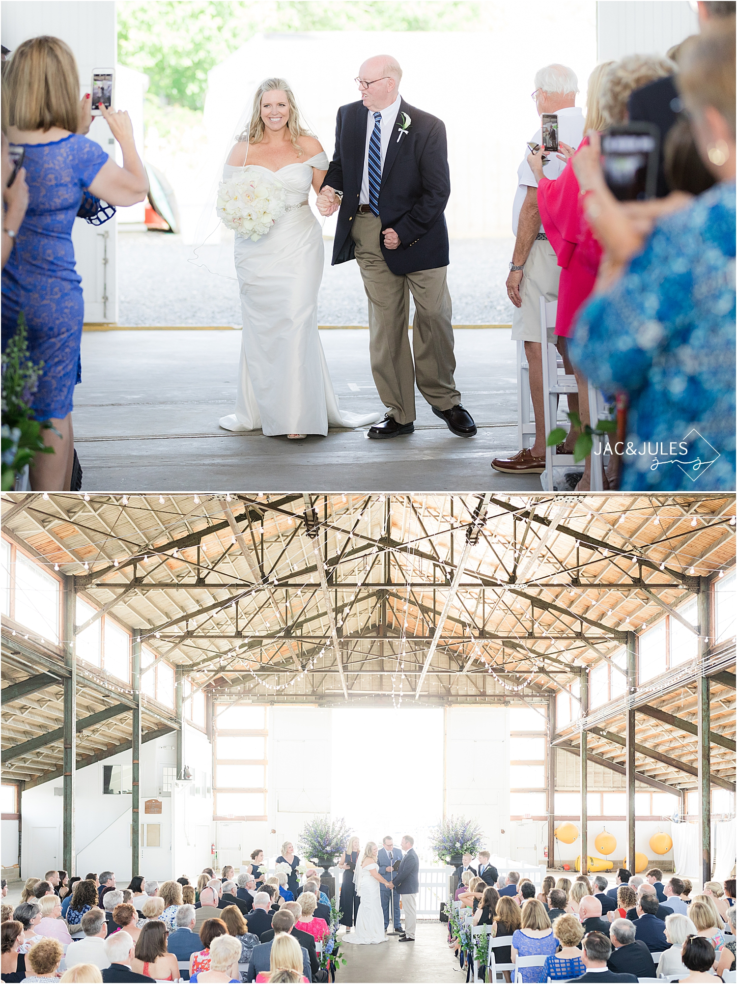wedding ceremony photo at bay head yacht club boat house chapel
