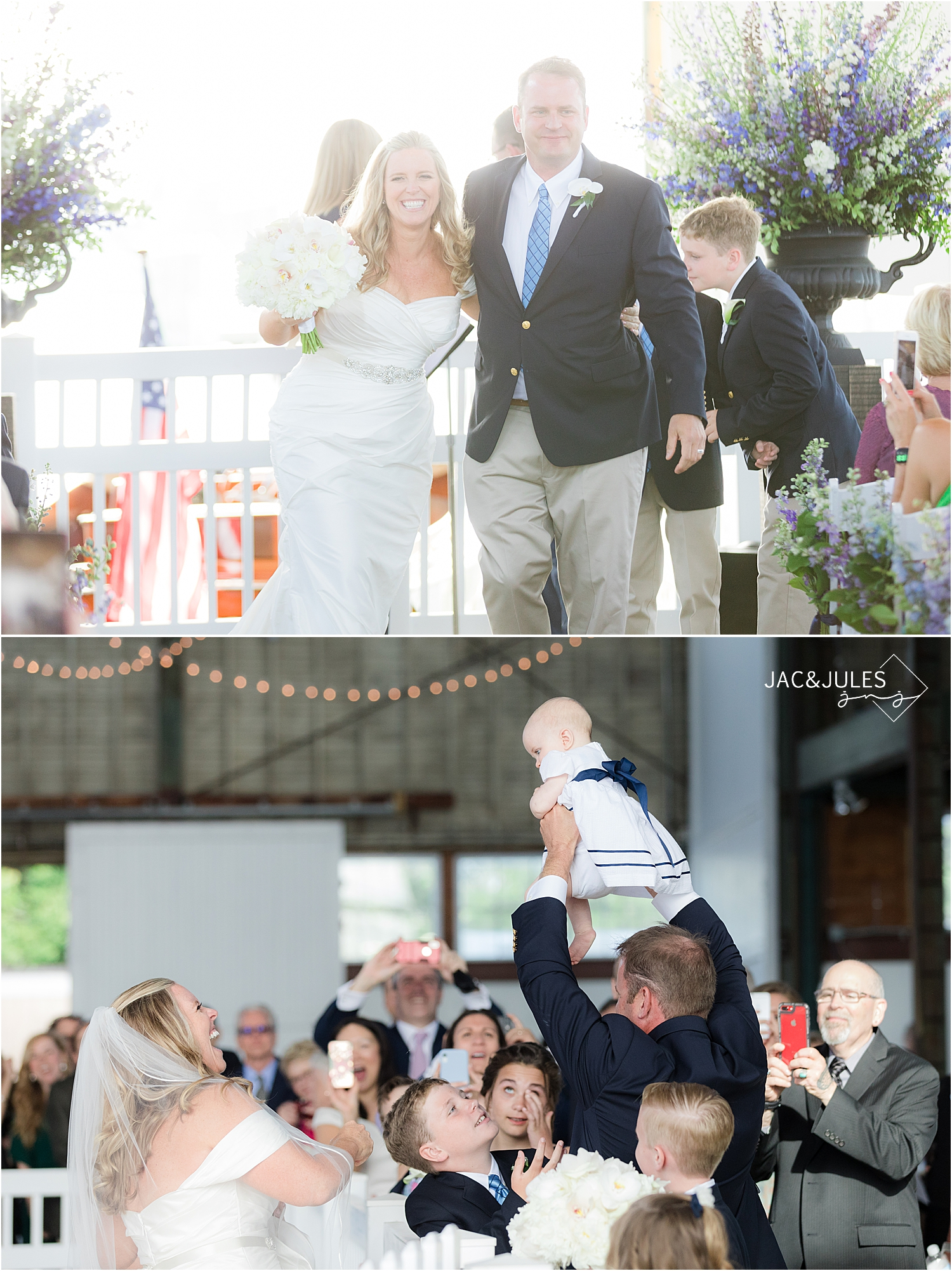 wedding ceremony exit at bay head yacht club boat house chapel