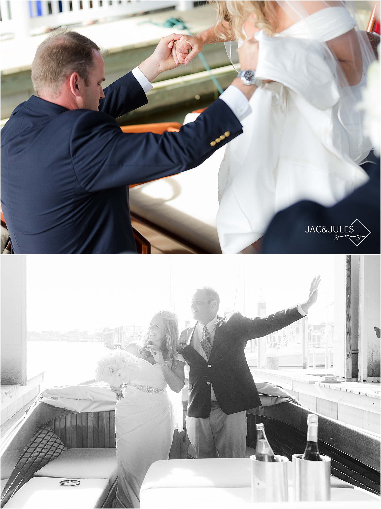 bride and groom exit wedding ceremony by boat at bay head yacht club