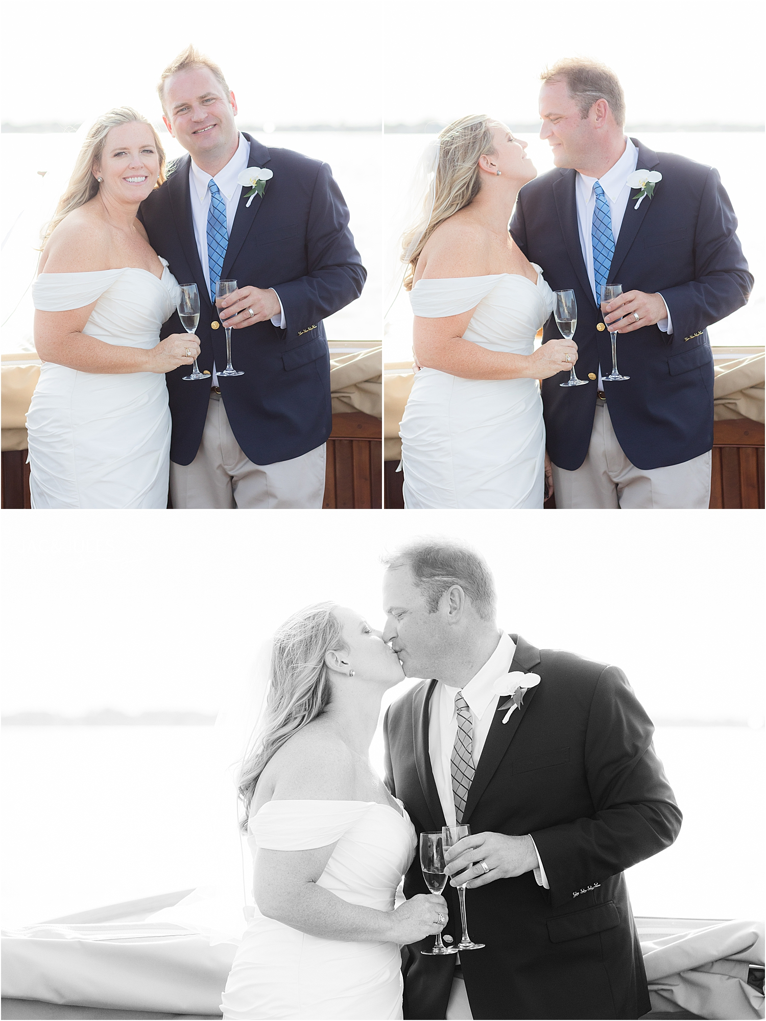 romantic wedding portraits on boat ride at bay head yacht club in natural light