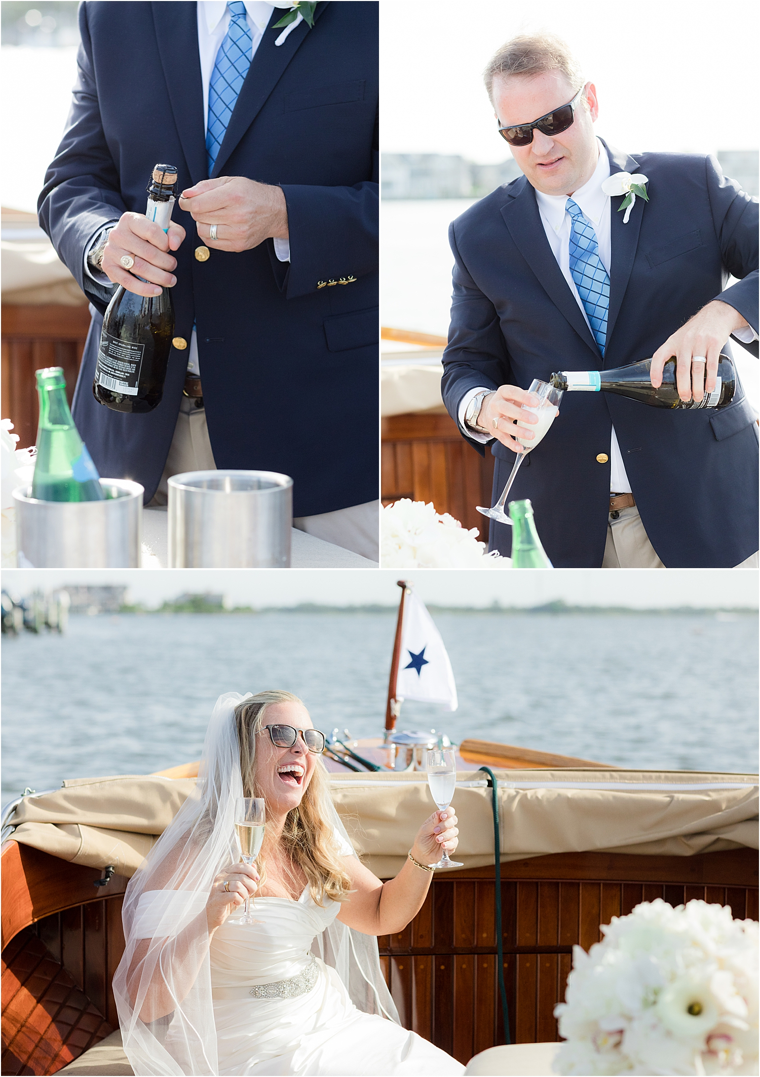 boat ride with bride and groom at bay head yacht club wedding