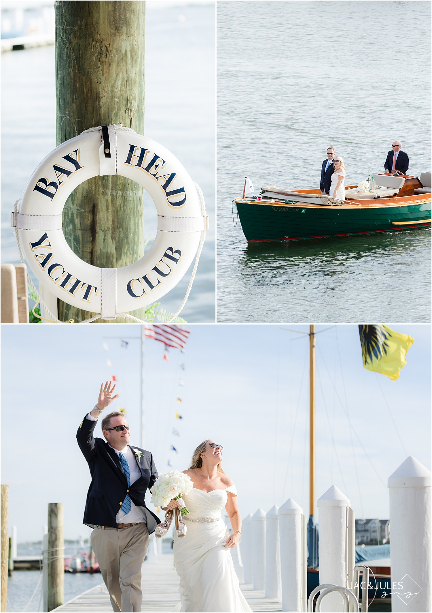 boat ride with bride and groom as they enter their cocktail hour at bay head yacht club