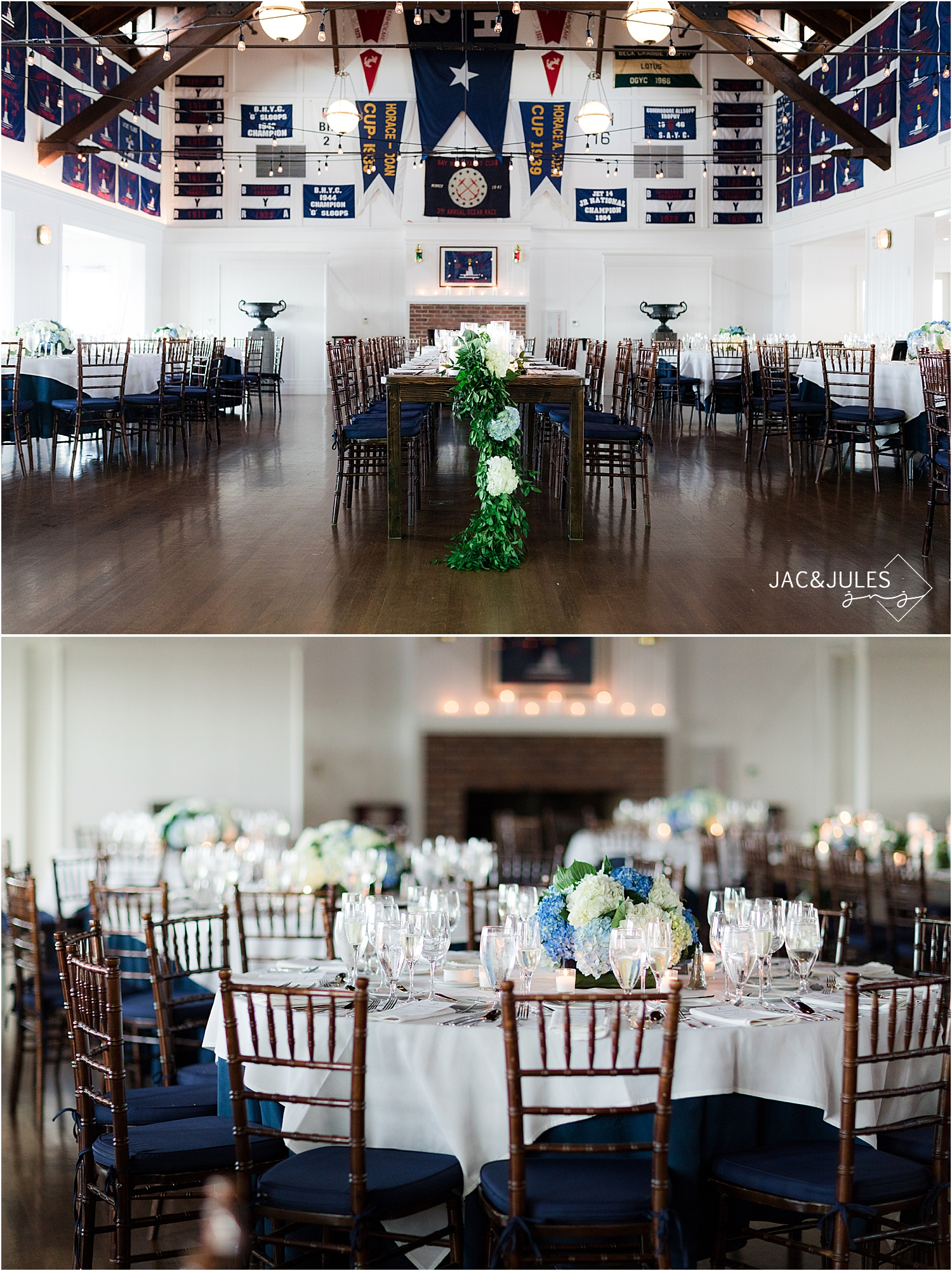 romantic wedding reception decor at bay head yacht club