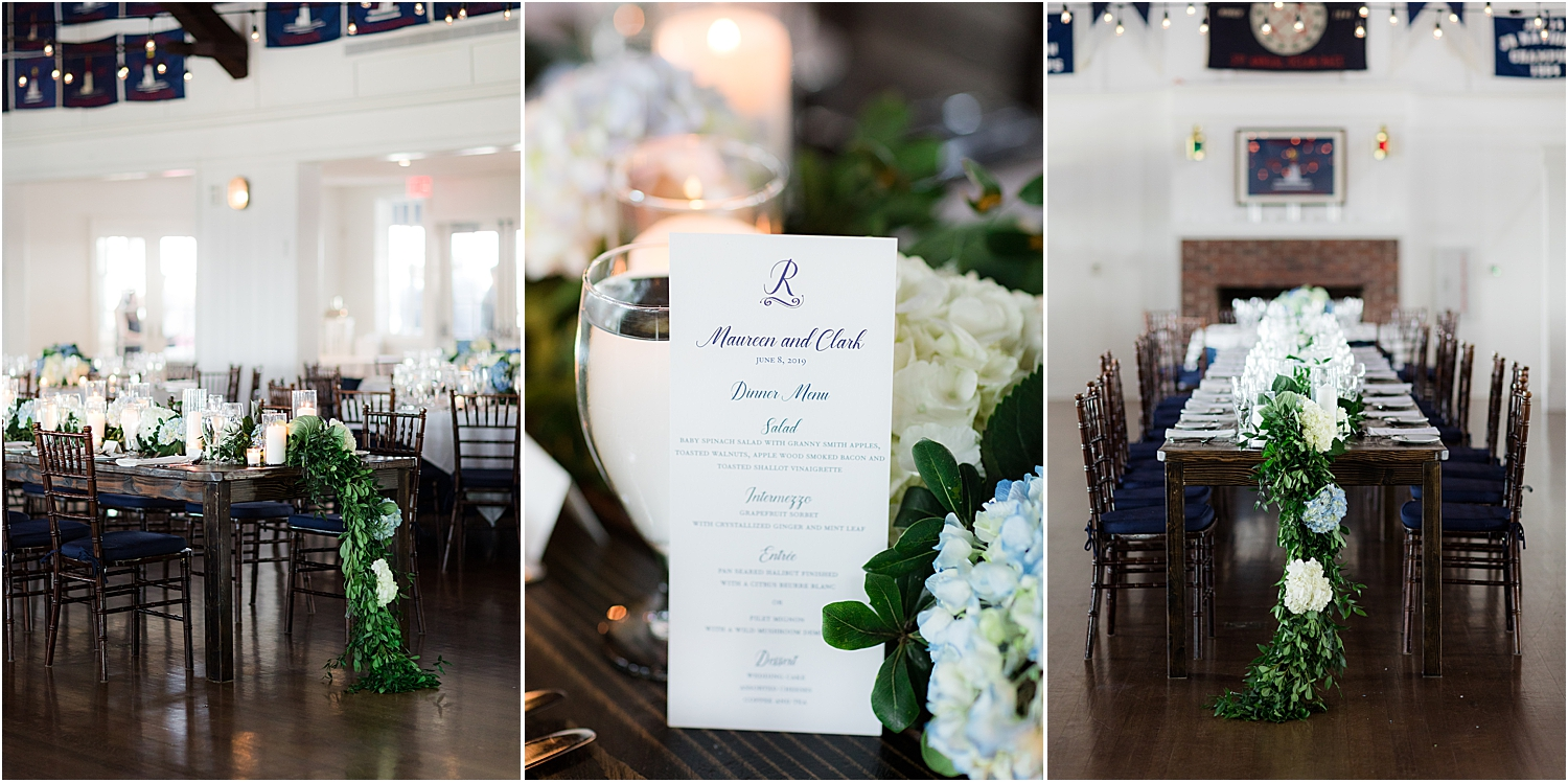 food menu at bay head yacht club wedding venue