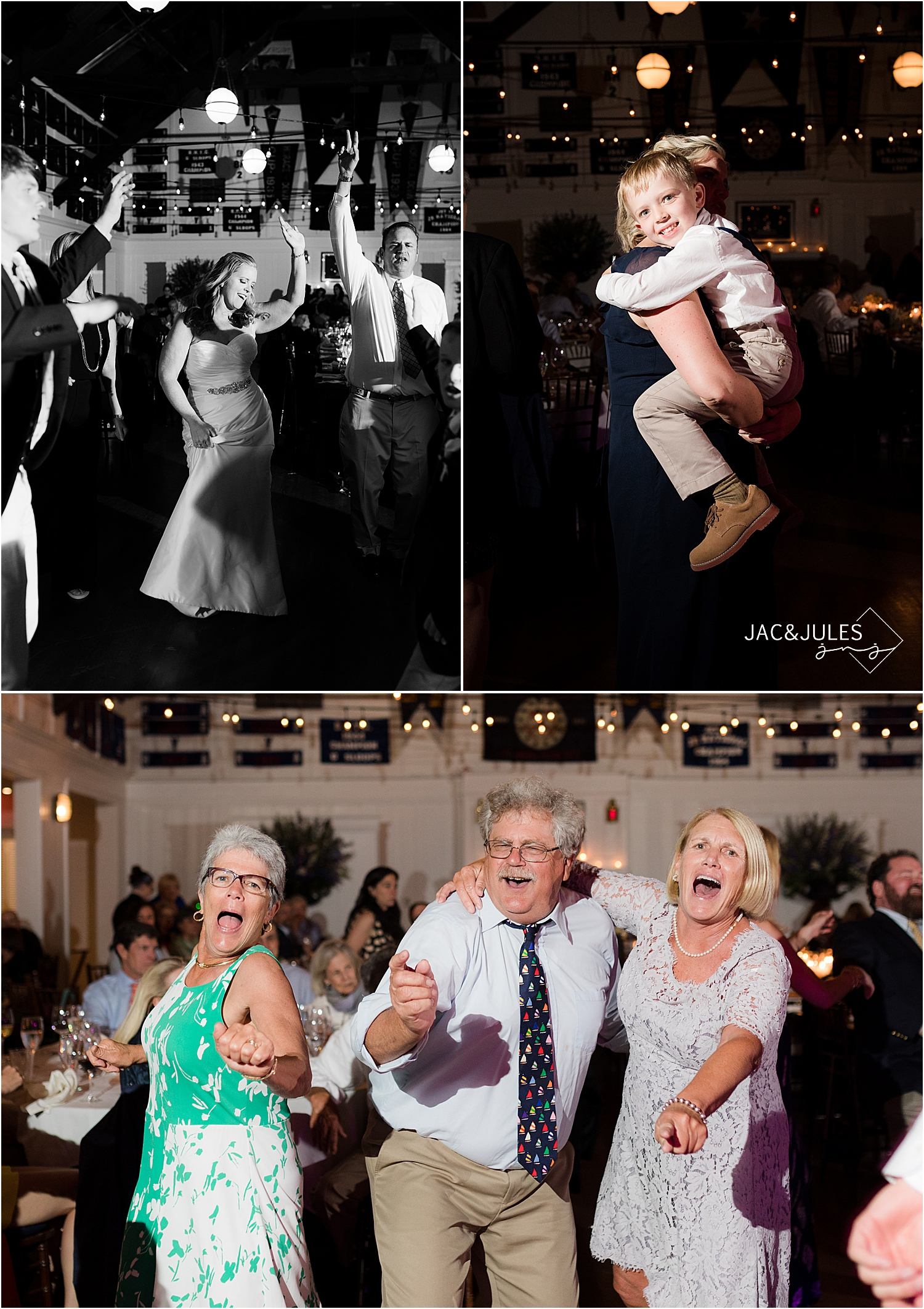 fun wedding reception at bay head yacht club wedding