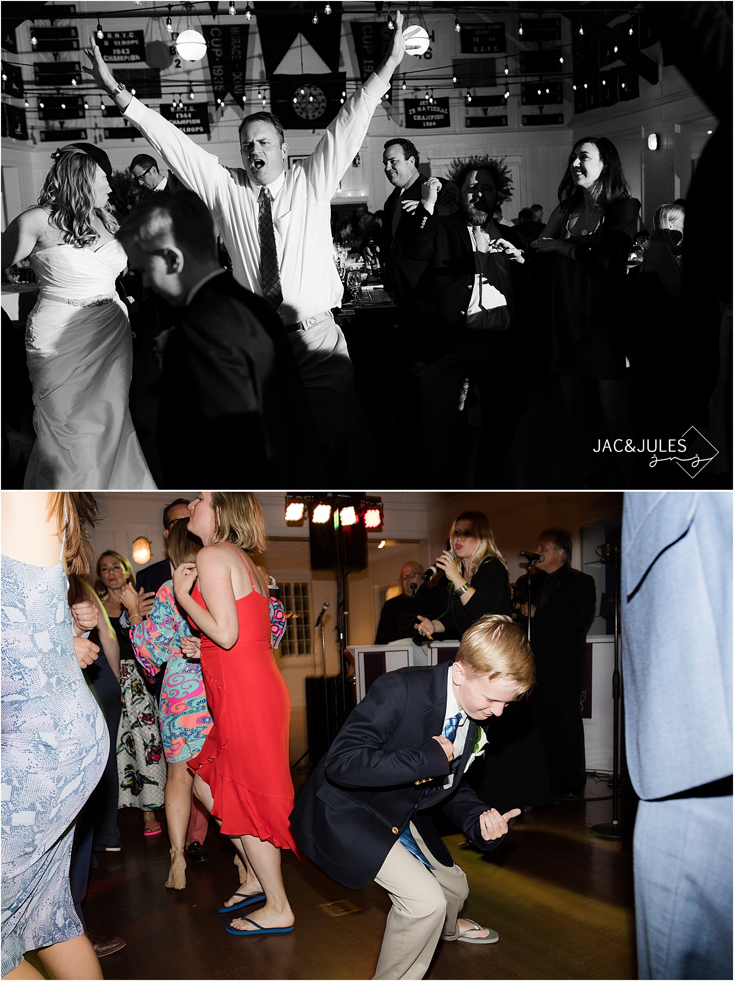 groom gets wild on the dance floor at bay head yacht club wedding