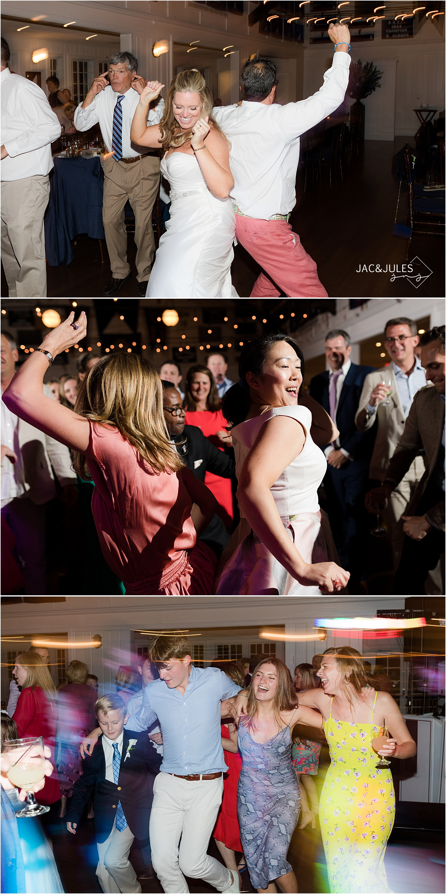 fun wedding reception dancing photos at bay head yacht club wedding