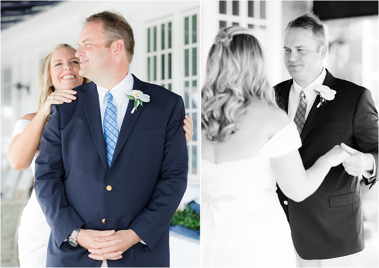 first look at bay head yacht club wedding