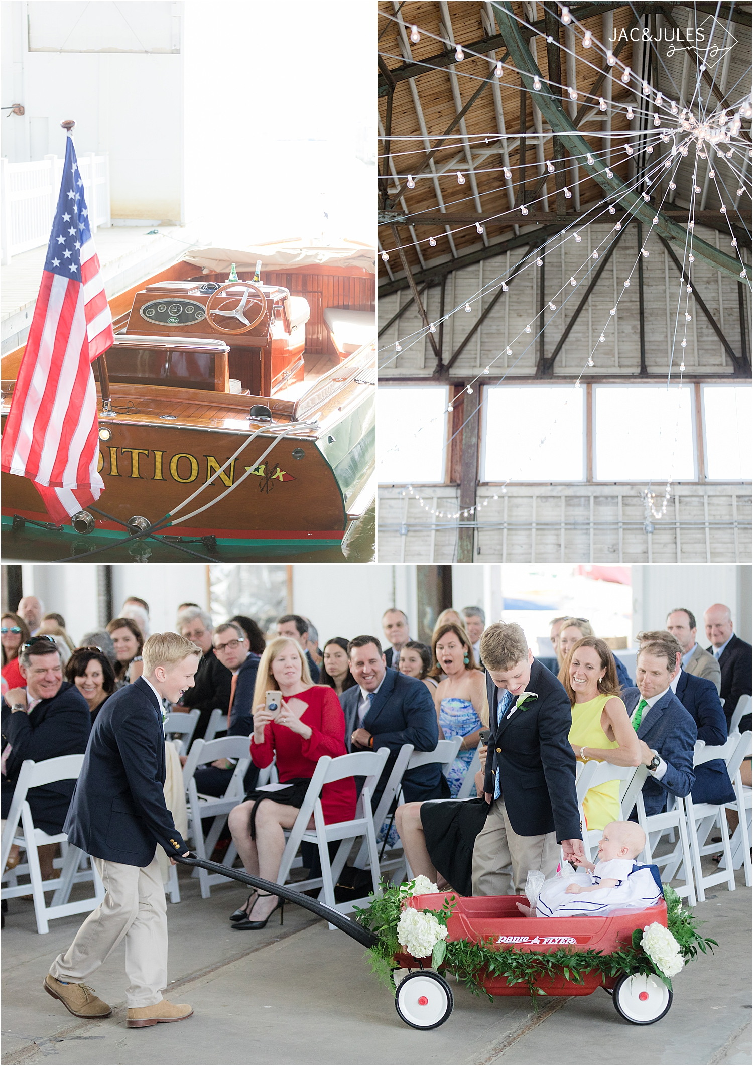 flower girl enters ceremony at boat house chapel at bay head yacht club