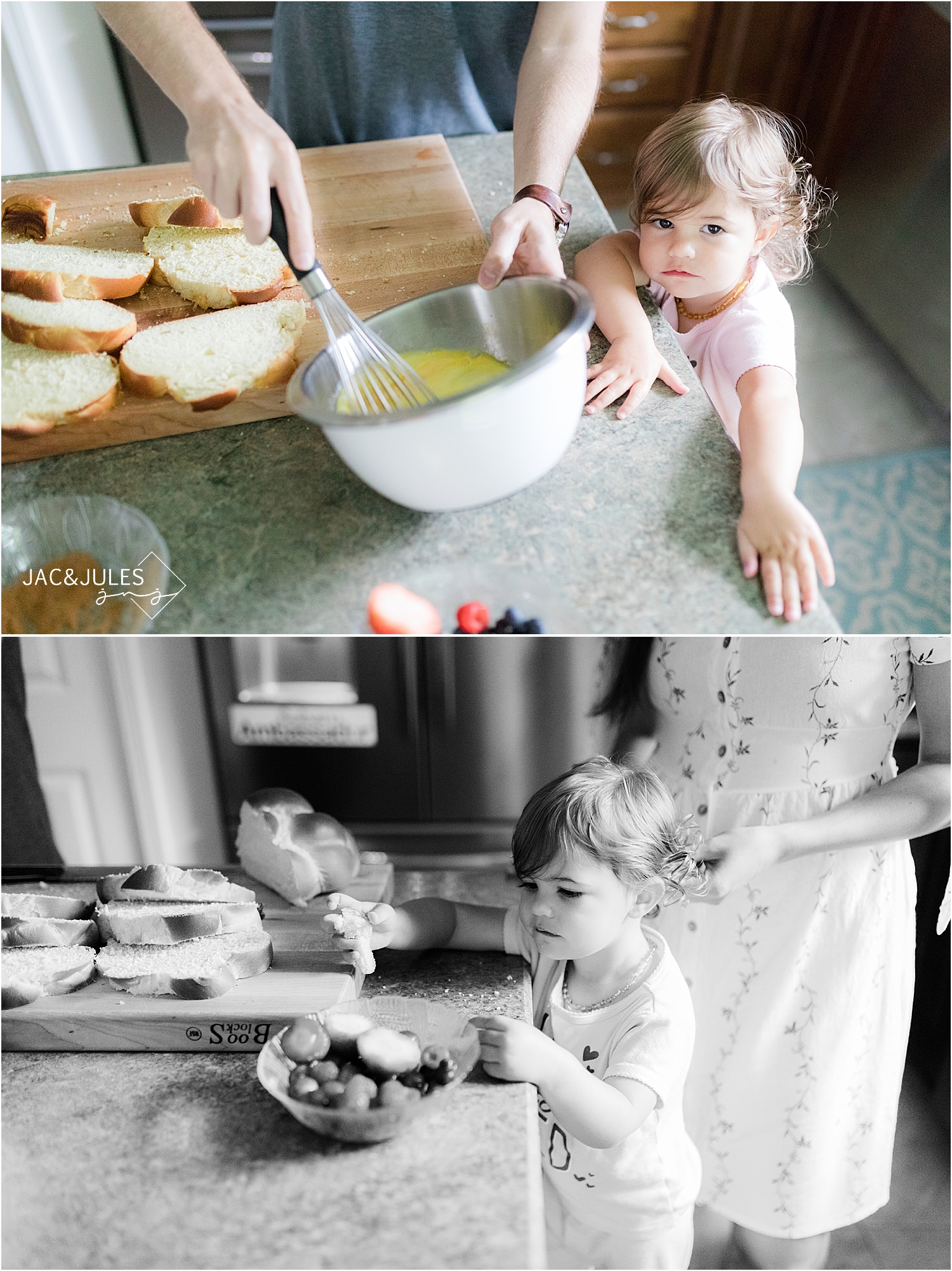 parents make breakfast with toddler