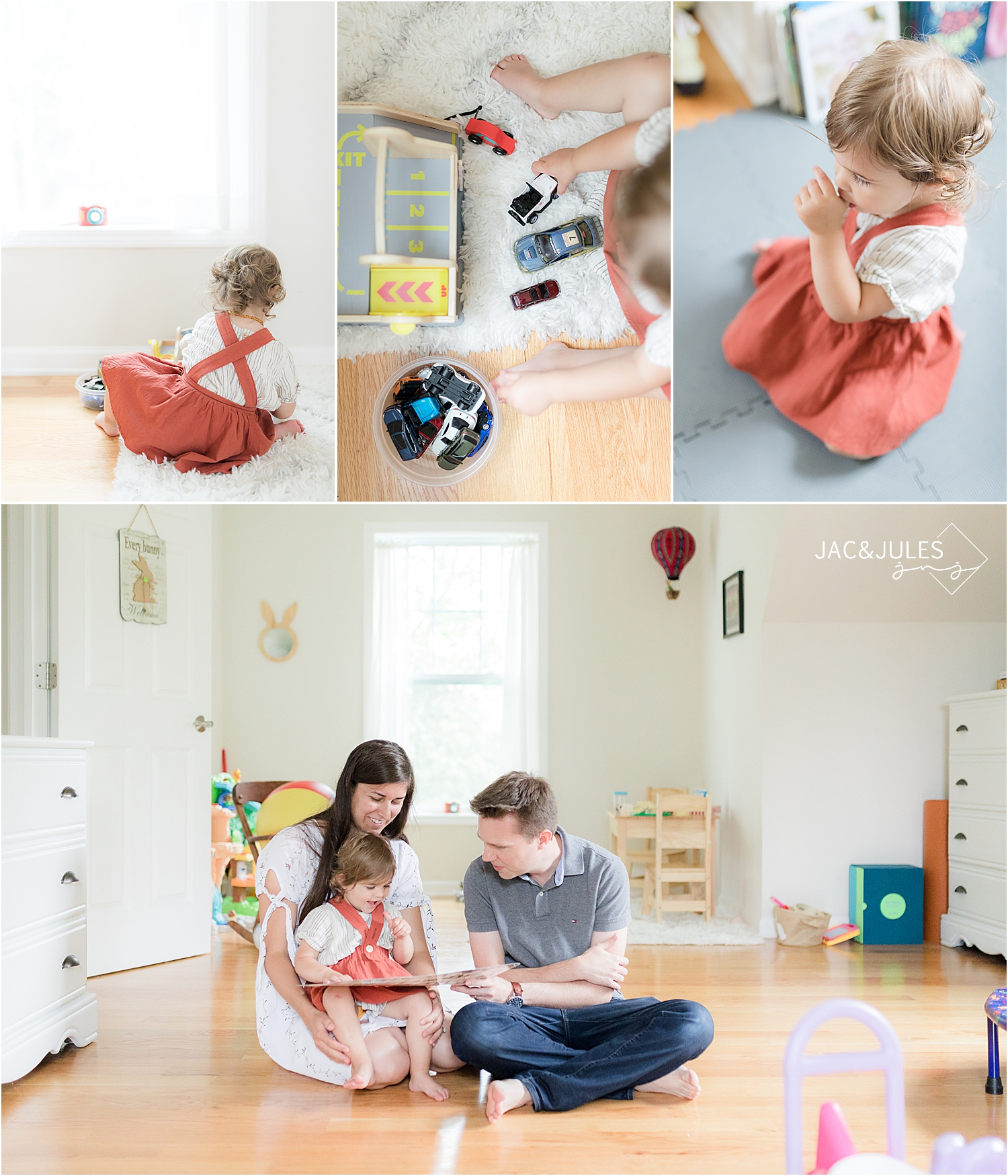 little girl and her family play at home