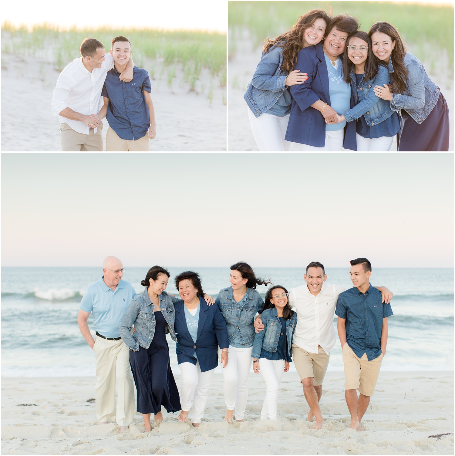 fun natural extended family photos at the beach in NJ.