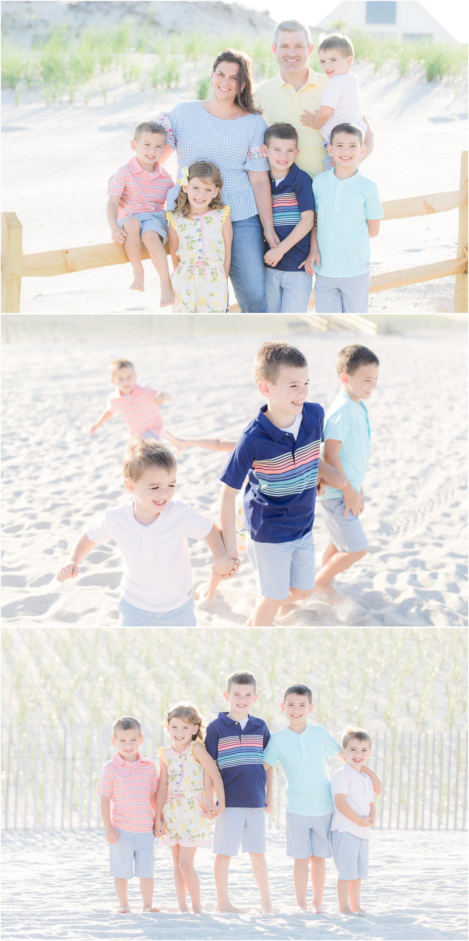 Family photos on the beach in Lavallette.