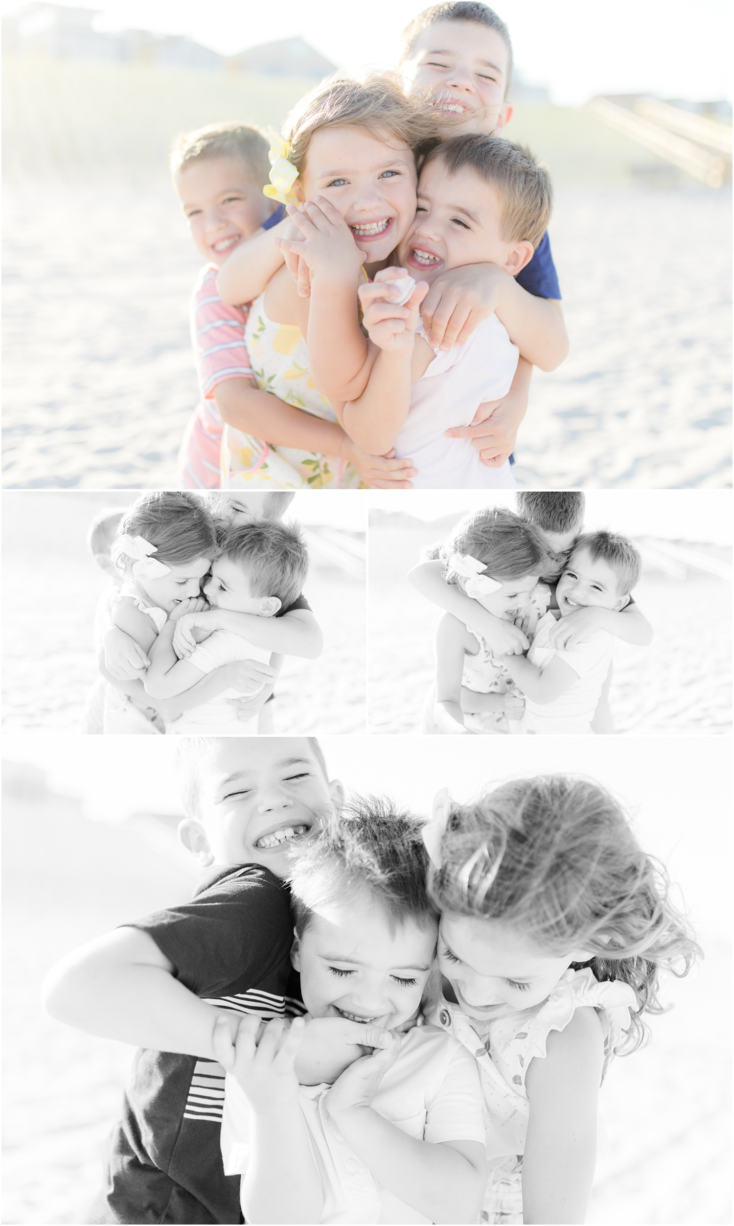 fun intimate candid moments with 5 kids at the beach in Lavallette, NJ.