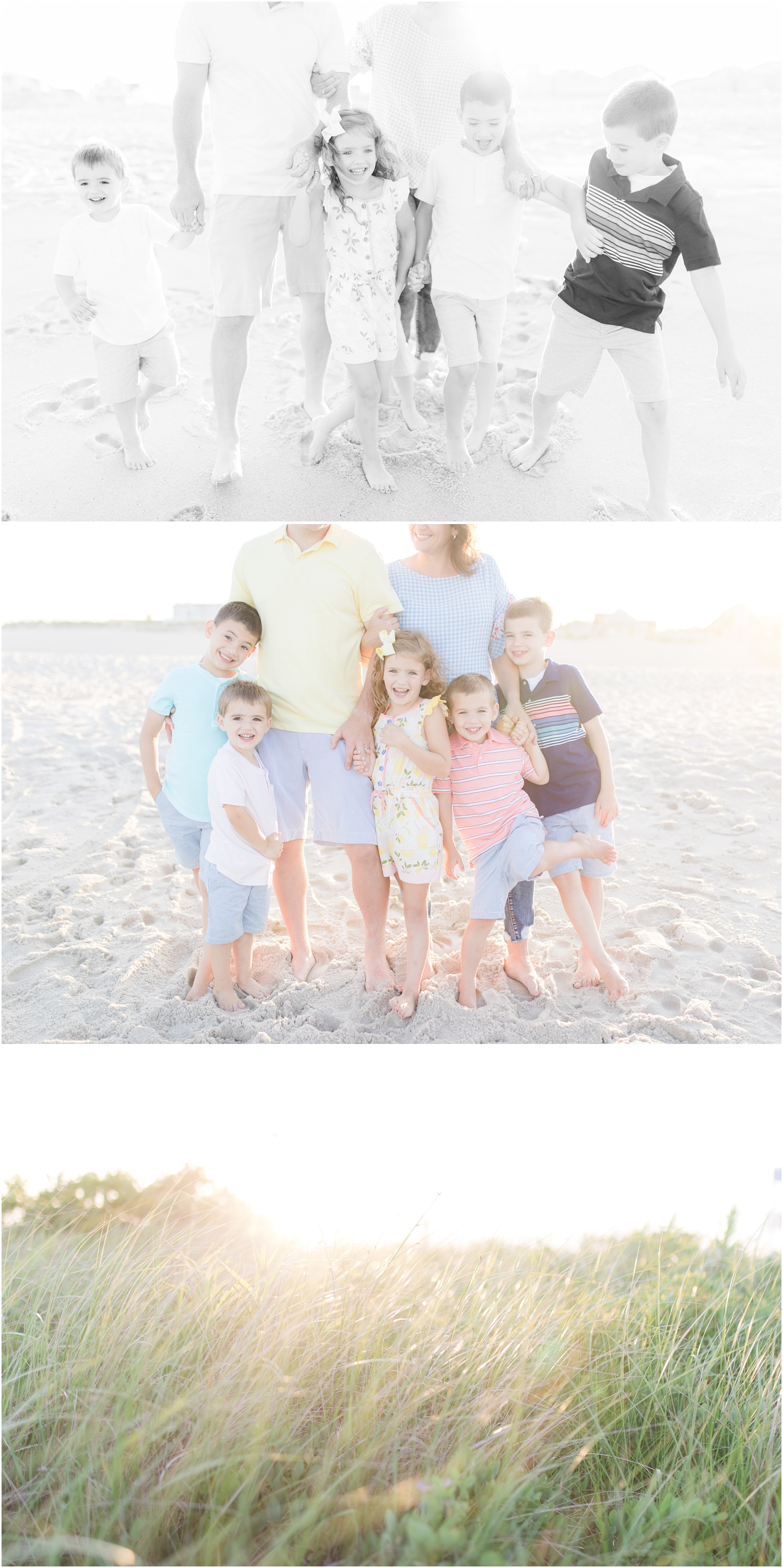 Sunny photos of a family by the ocean in Lavallette.