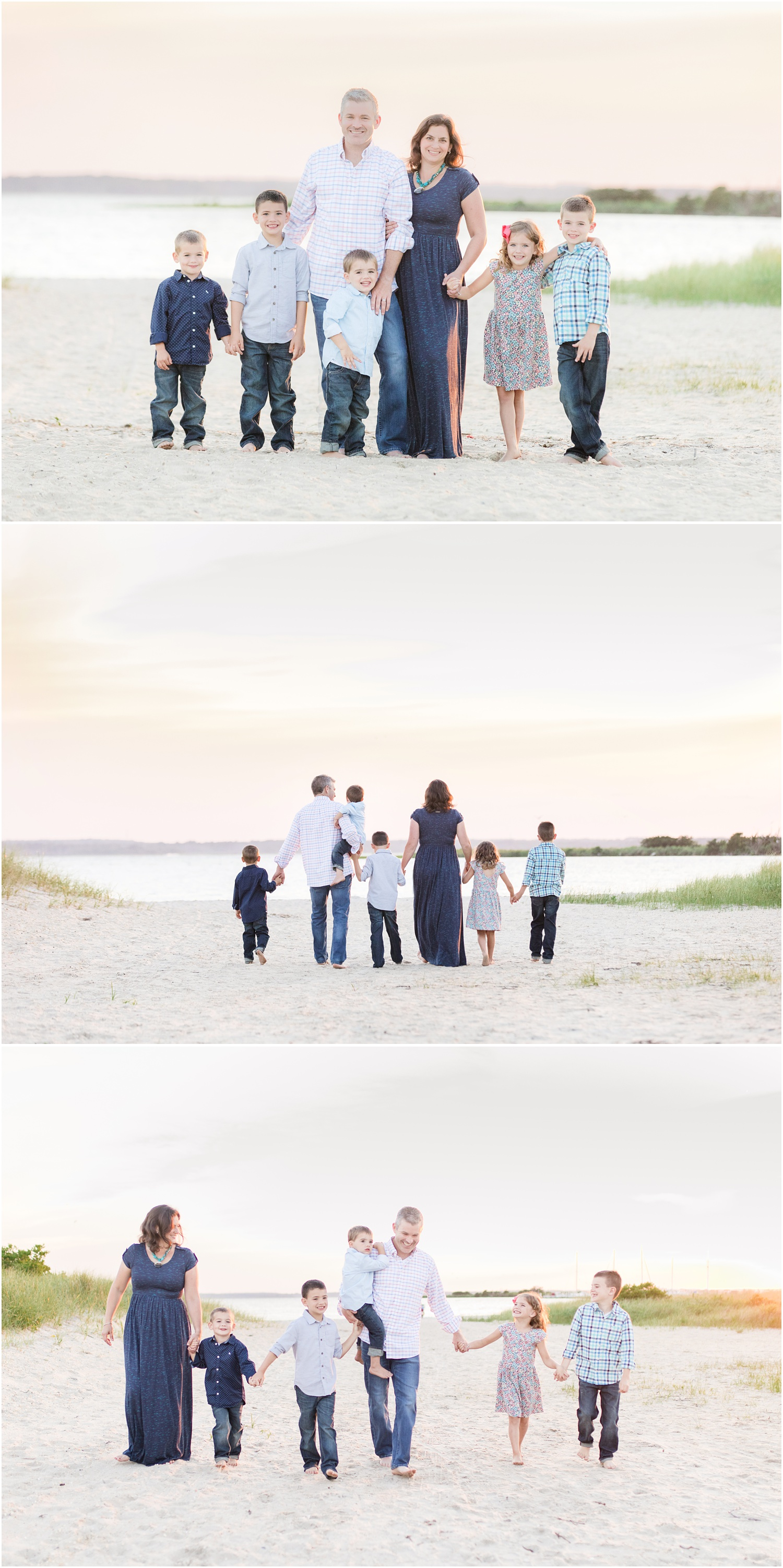 Photos of family of 7 in soft colors at the Barnegat Bay in Lavallette, NJ.