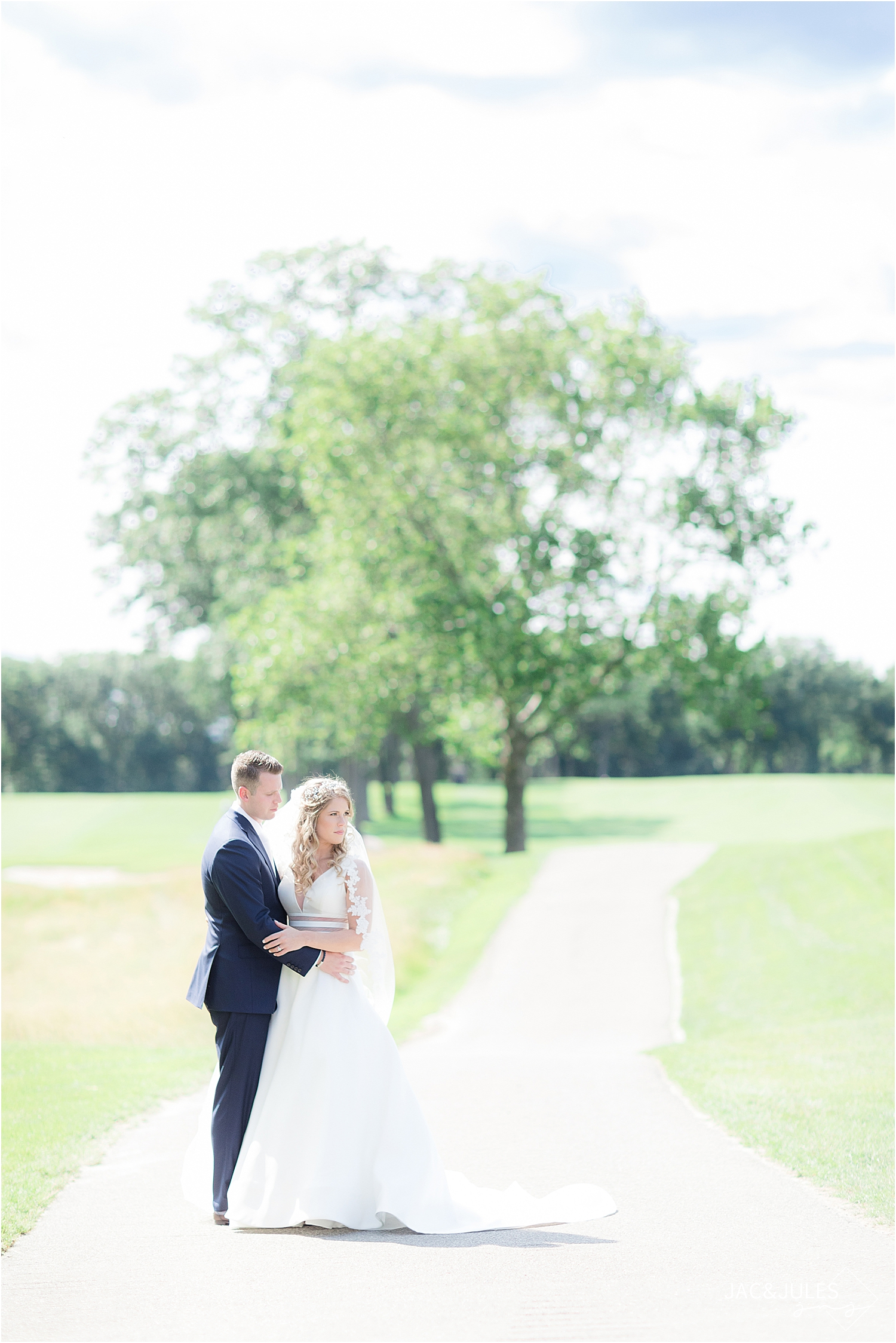 light and airy wedding portrait of bride and groom at north jersey country club