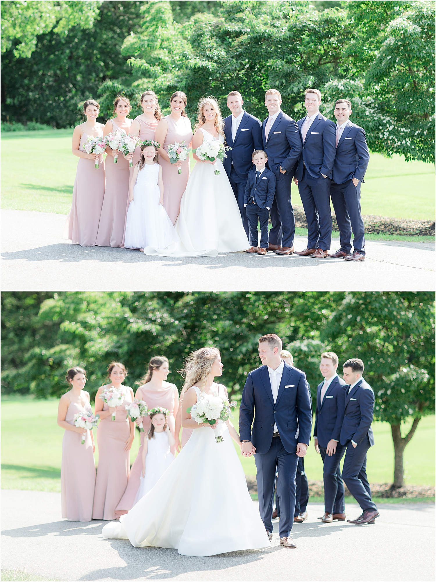 bridal party in pink dresses and blue suits at country club wedding in north jersey