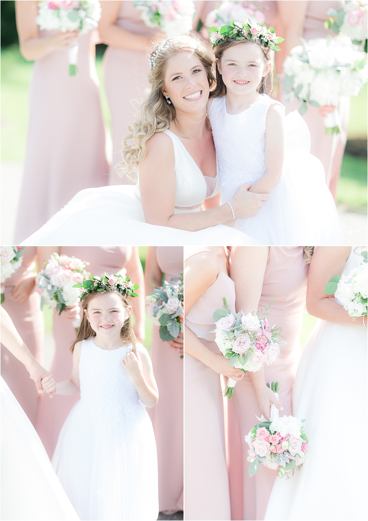 bride and flower girl in pink dresses at north jersey country club wedding
