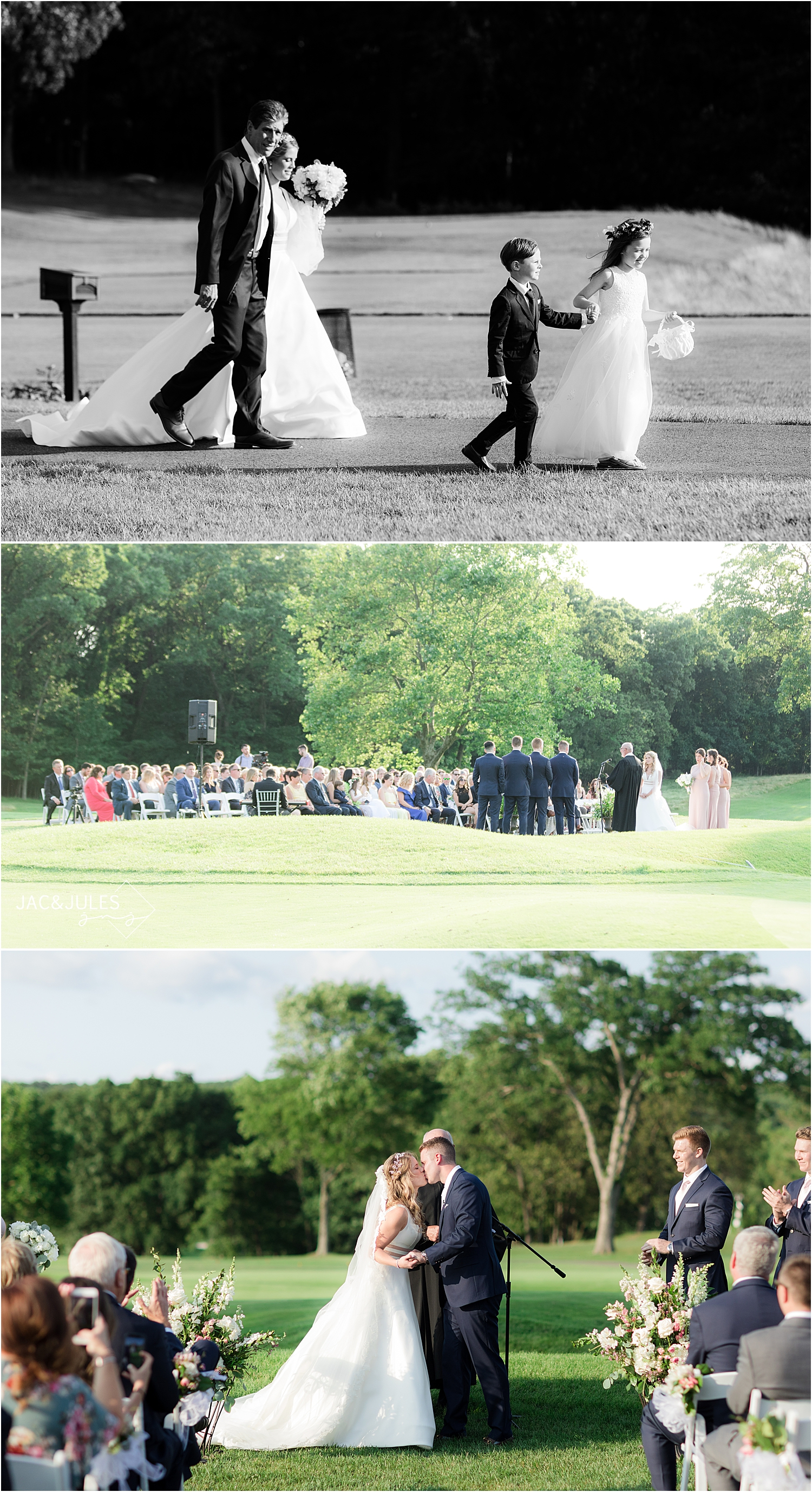 outdoor wedding ceremony at north jersey country club