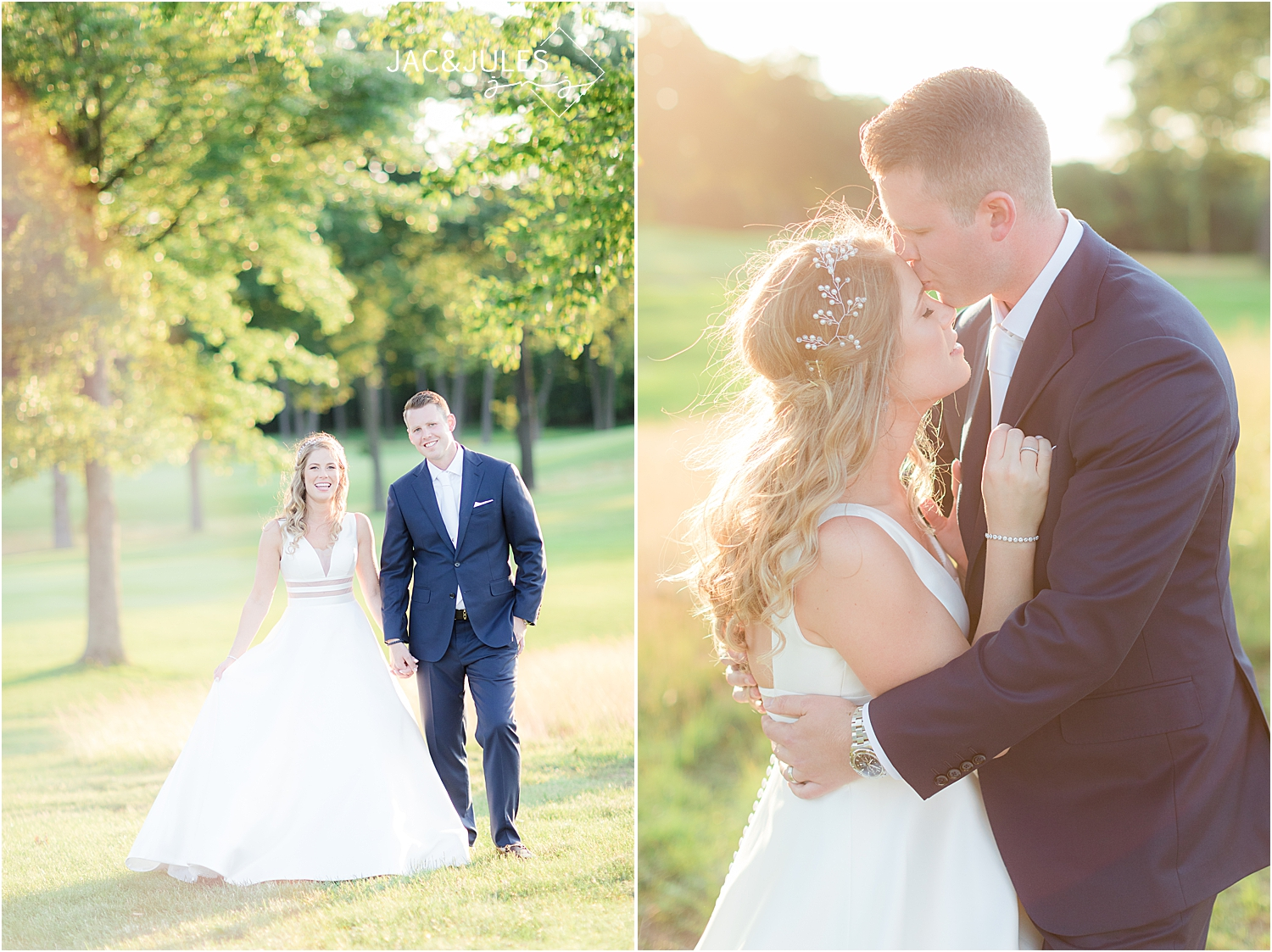 sunset photo of bride and groom at north jersey country club wedding