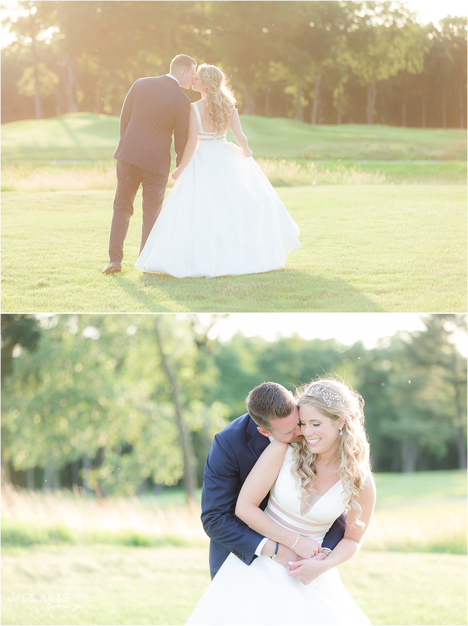 romantic sunset photos of bride and groom at north jersey country club wedding