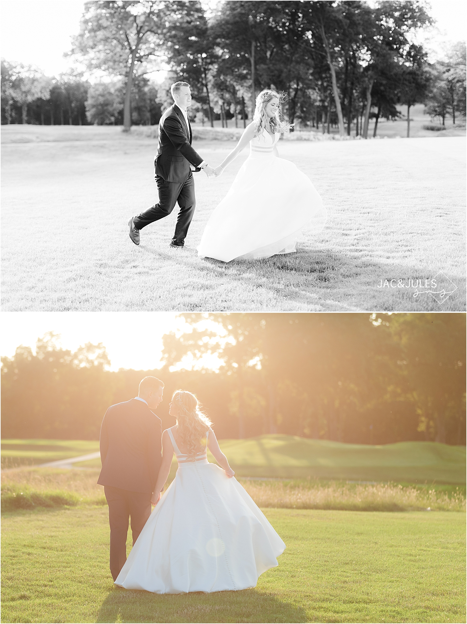 romantic sunset portraits of bride and groom at north jersey country club wedding