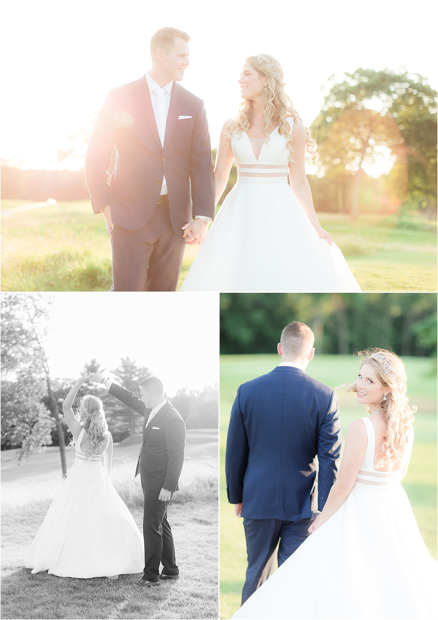 romantic sunset portraits of bride and groom at north jersey country club