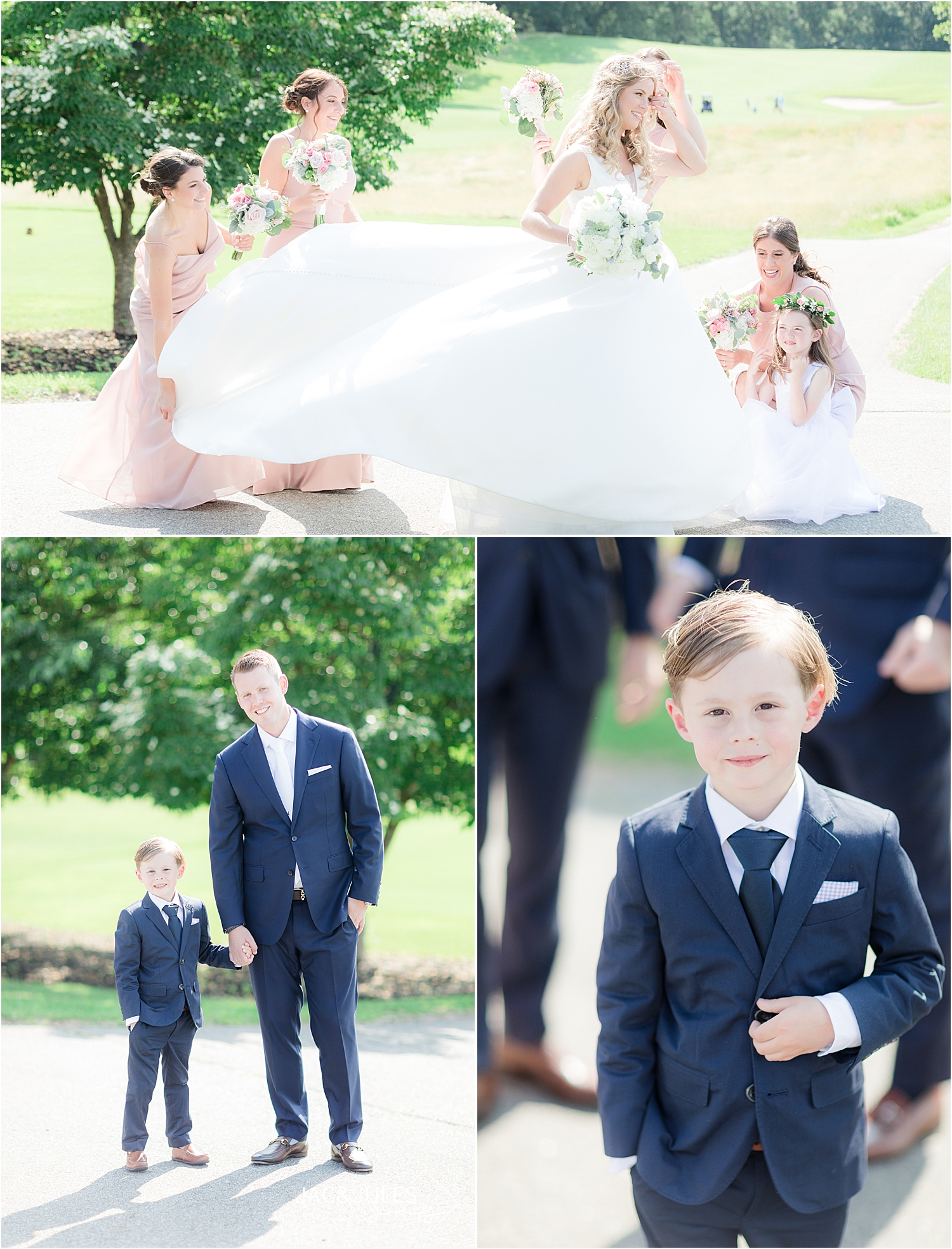 country club wedding attire with ring bearer