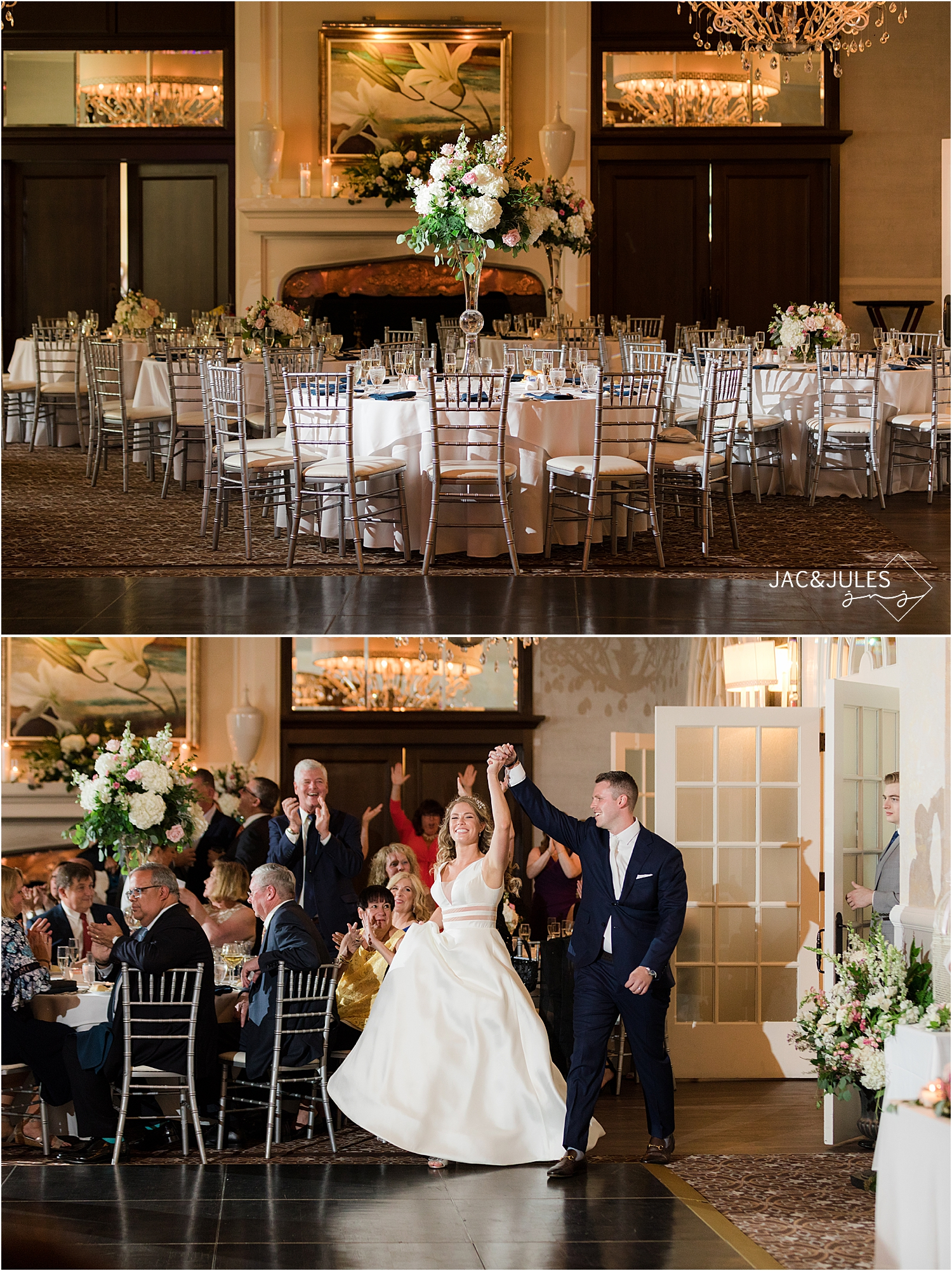 bride and groom enter wedding reception at north jersey country club