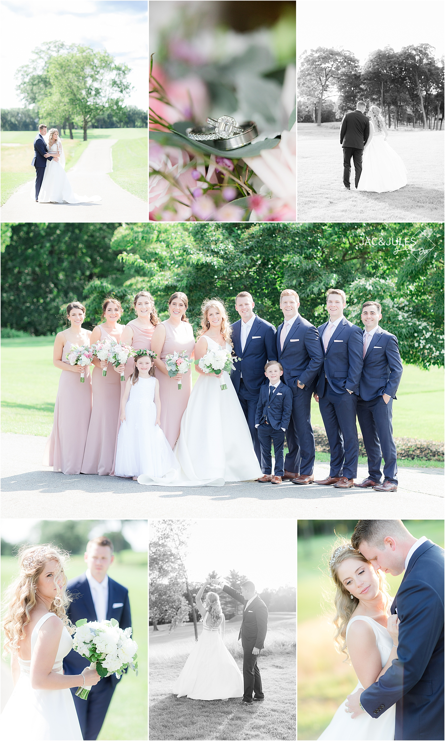 romantic wedding photos in natural light at north jersey country club