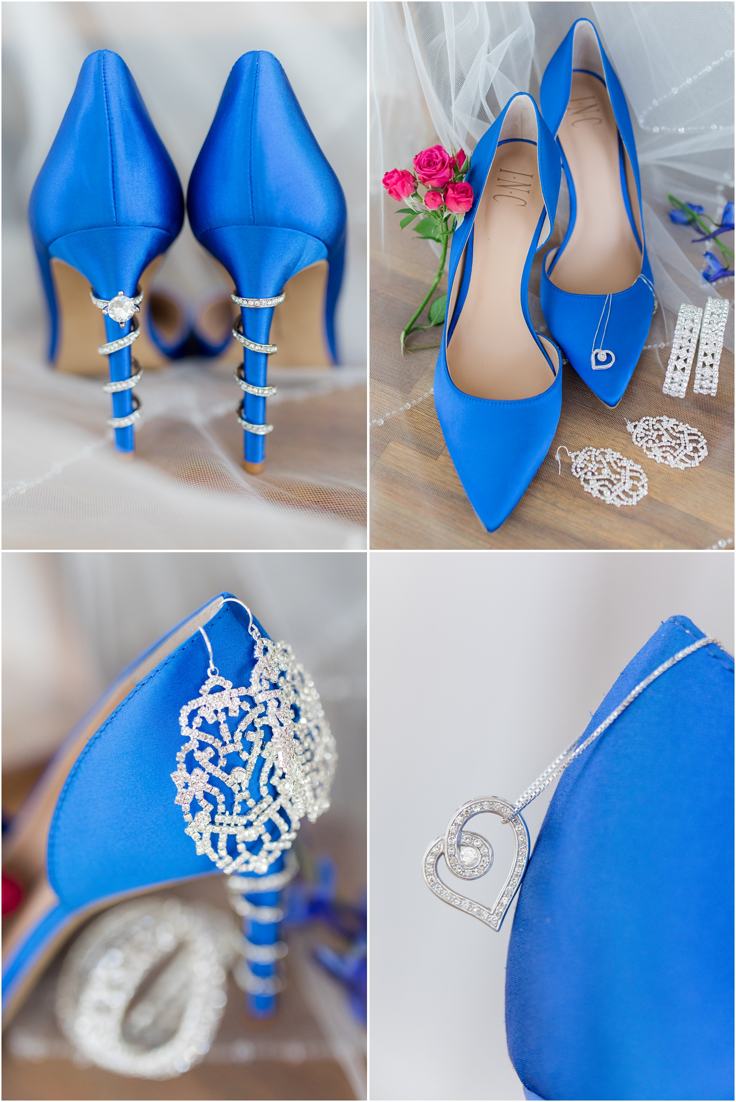blue wedding shoes with engagement ring detail on heel.