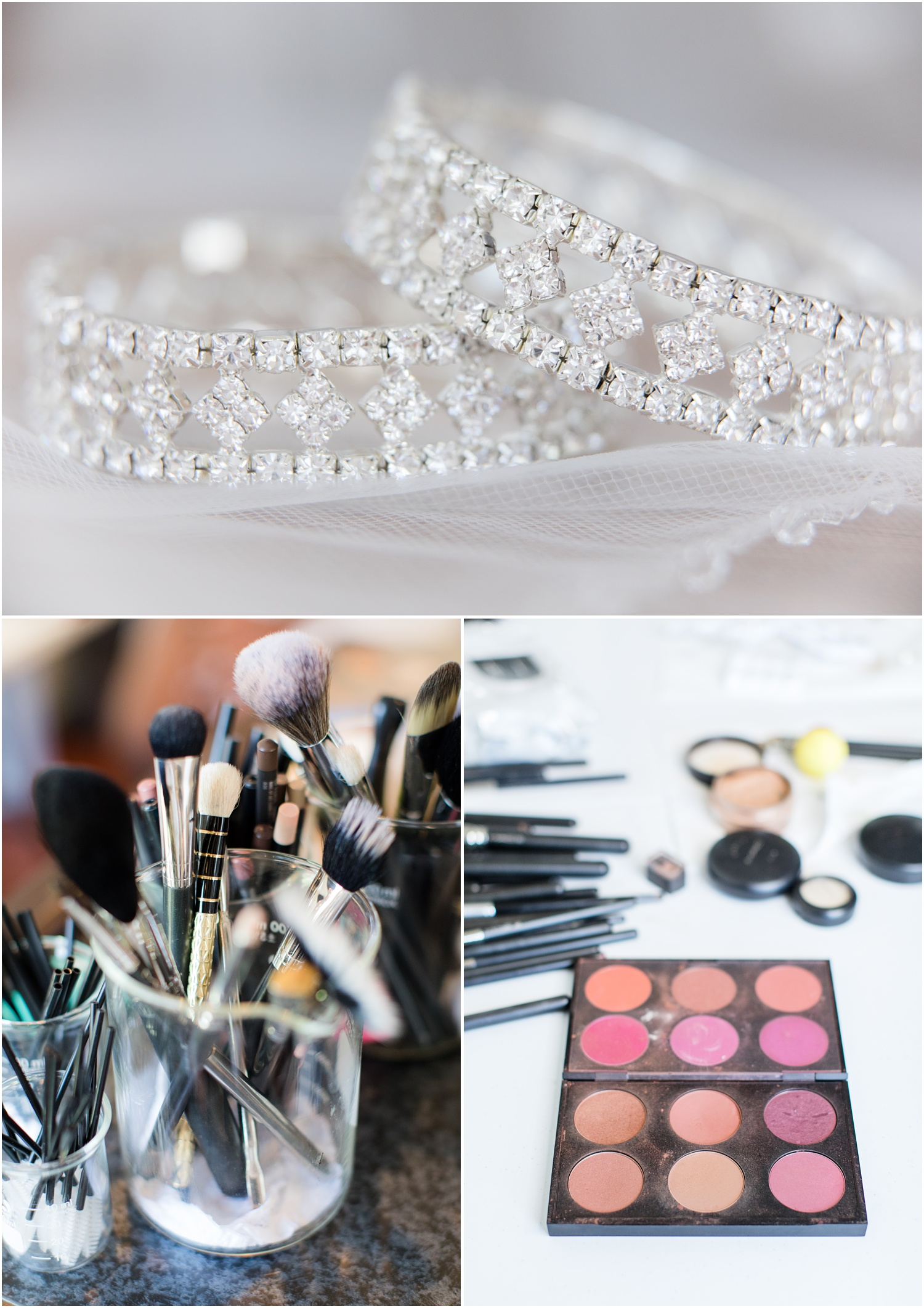 Wedding day jewelry and makeup