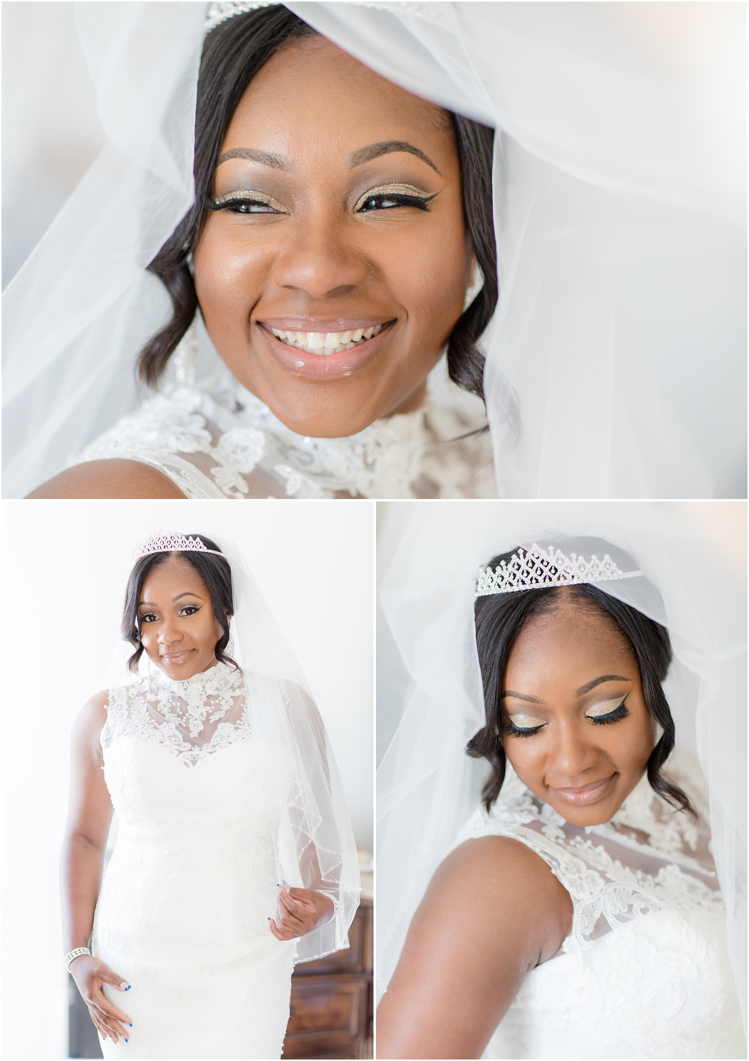 Bridal portraits with veil.