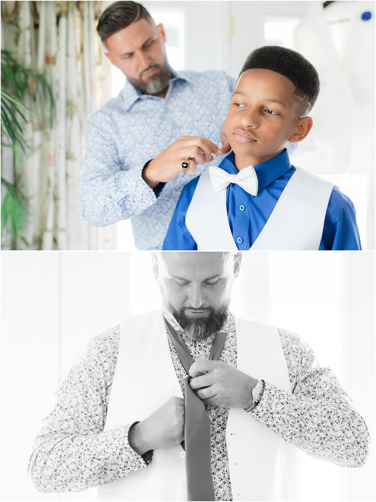 Groom helping Step-son get dressed for a wedding in Chesapeake City, MD.