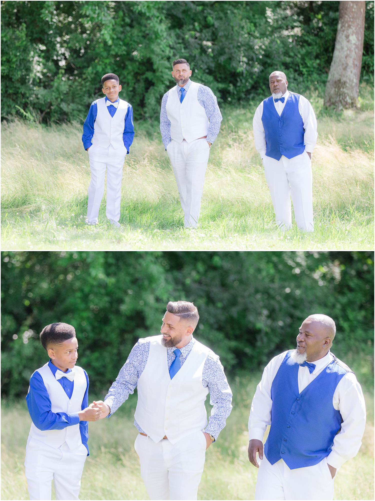 Groom and groomsmen before a wedding in Chesapeake City, MD.