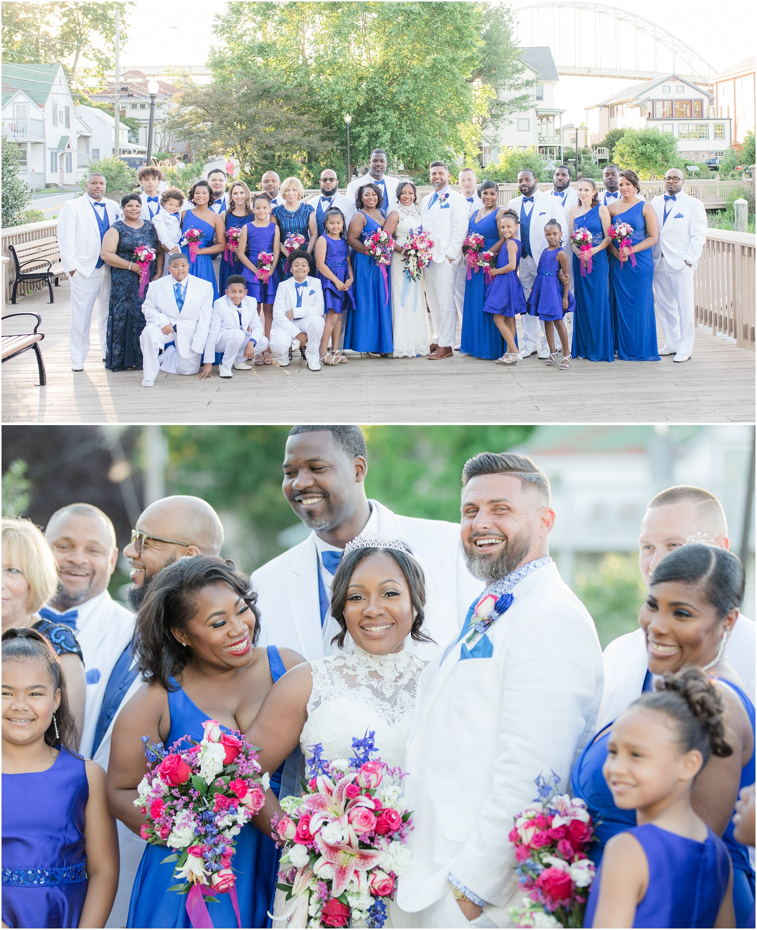 Very large bridal party photo on a dock in Maryland.
