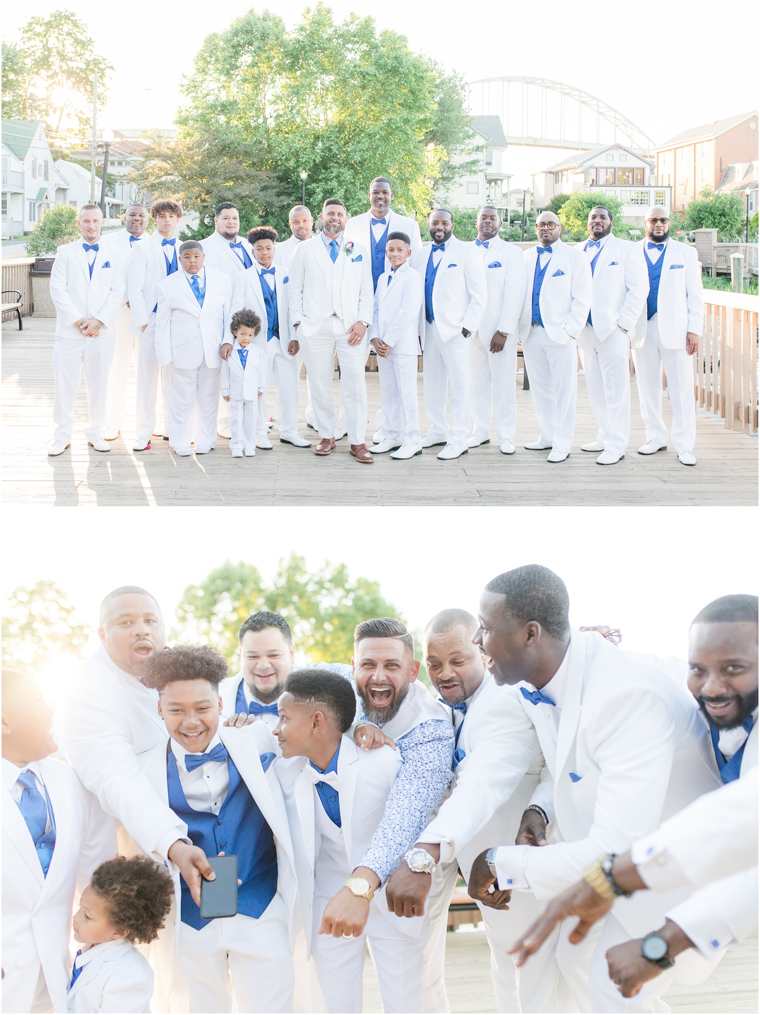 fun groomsmen photos in Chesapeake City, MD.