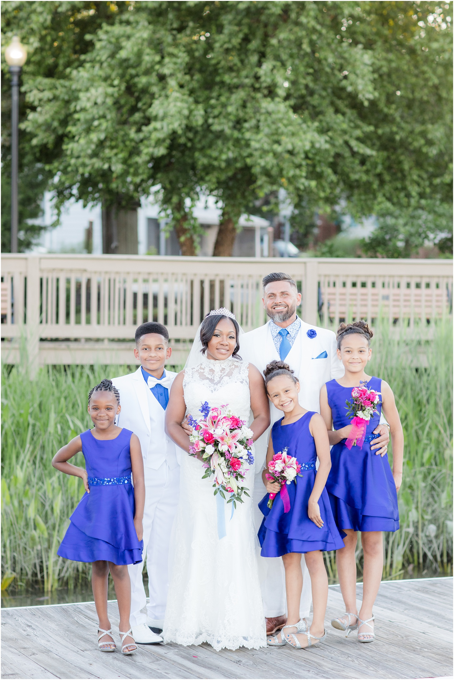 Formal family photos from a wedding in Chesapeake City, MD.