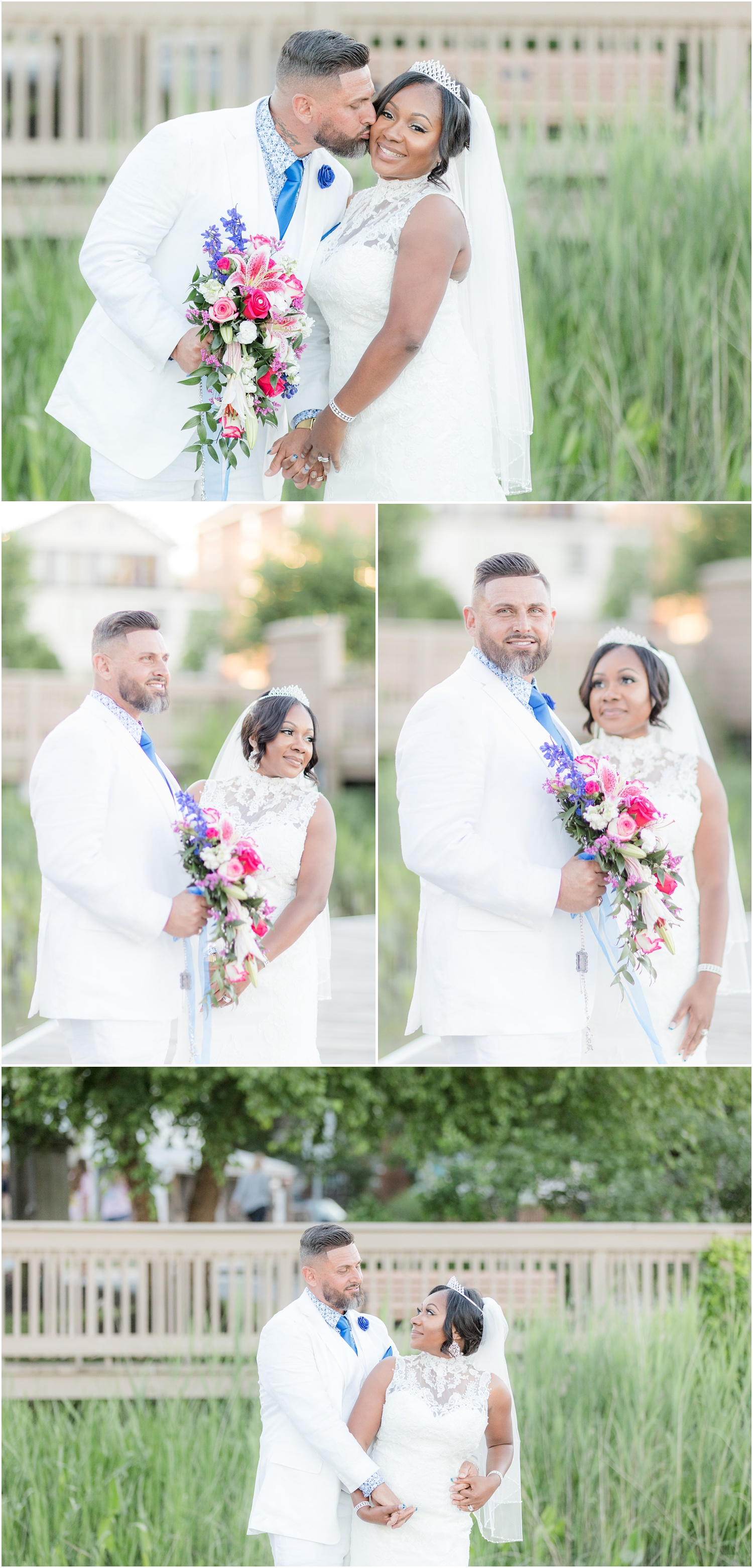 colorful Bride and groom photos in Chesapeake City, MD.