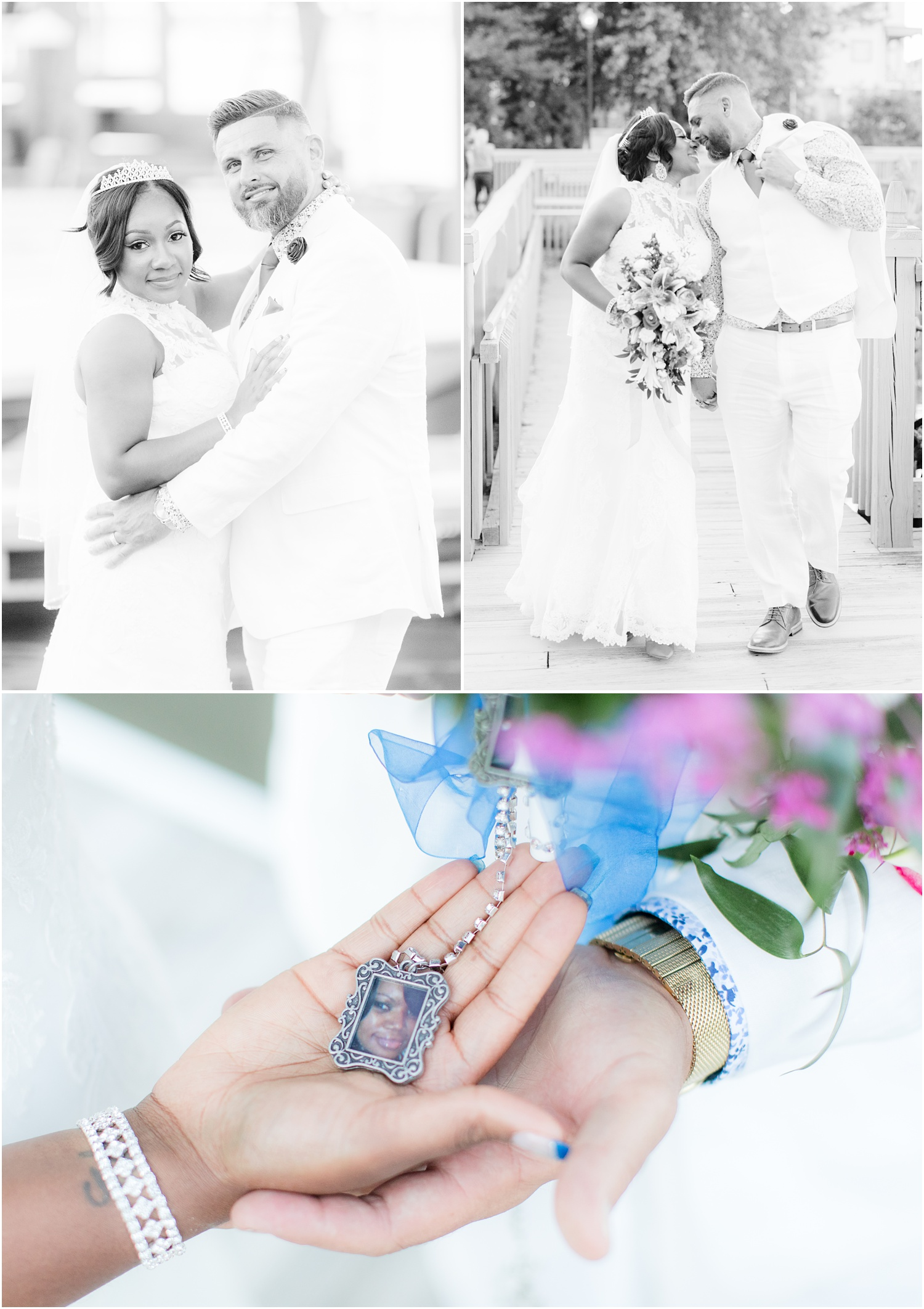 romantic black and white Bride and groom photos in Chesapeake City, MD.