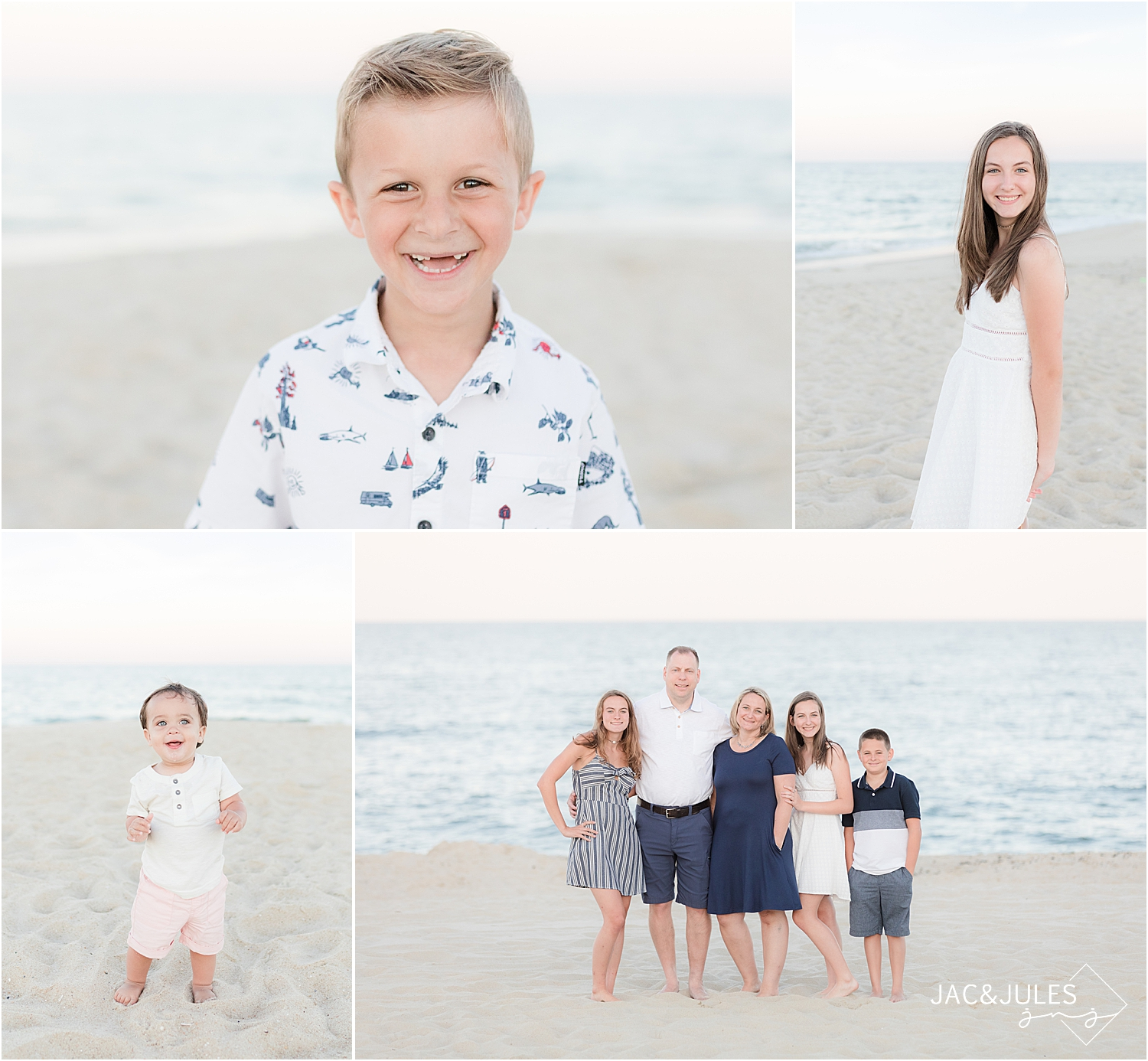 portraits of kids on the beach in spring lake nj