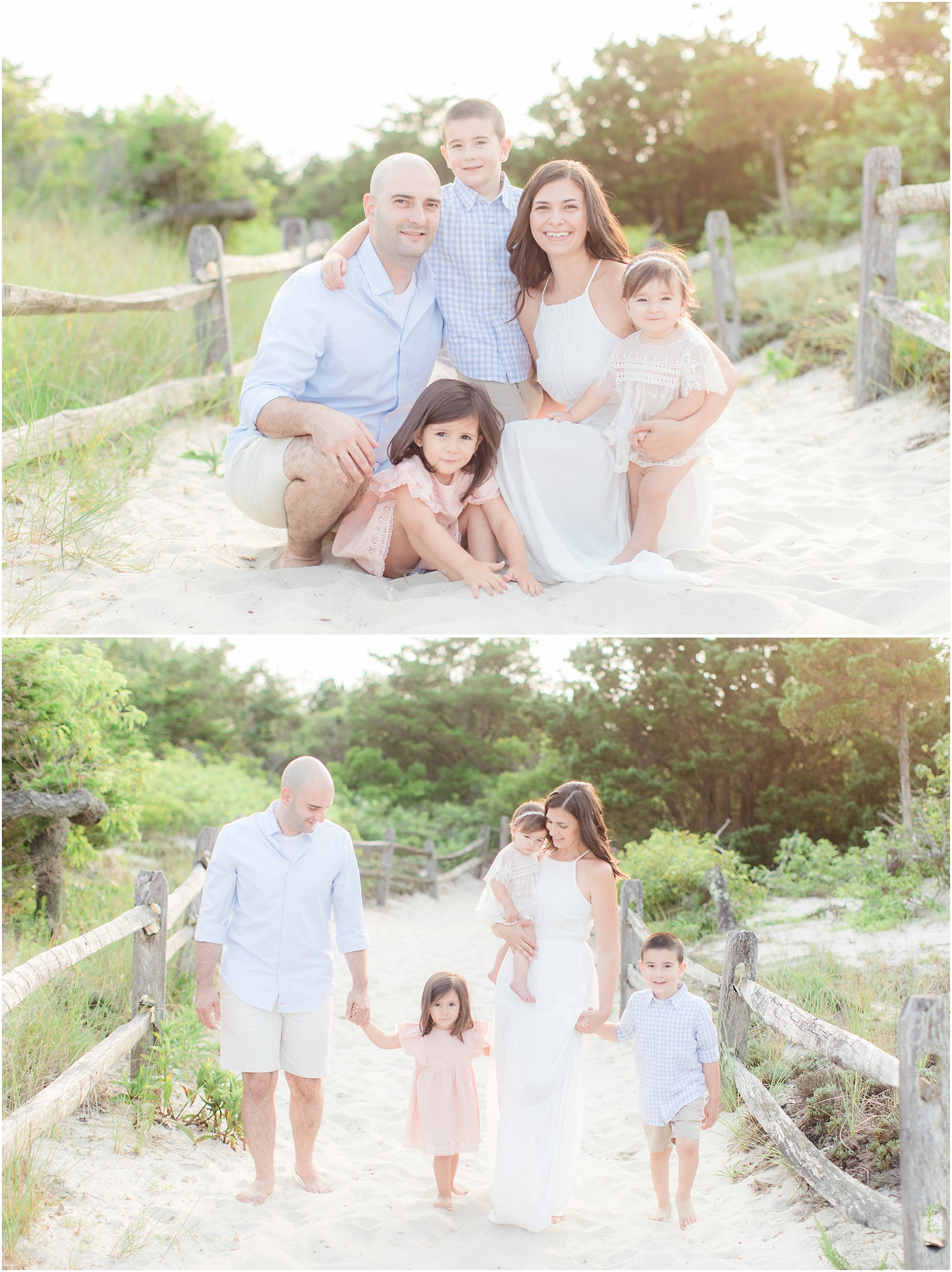 light and airy family beach photos in Seaside Park.
